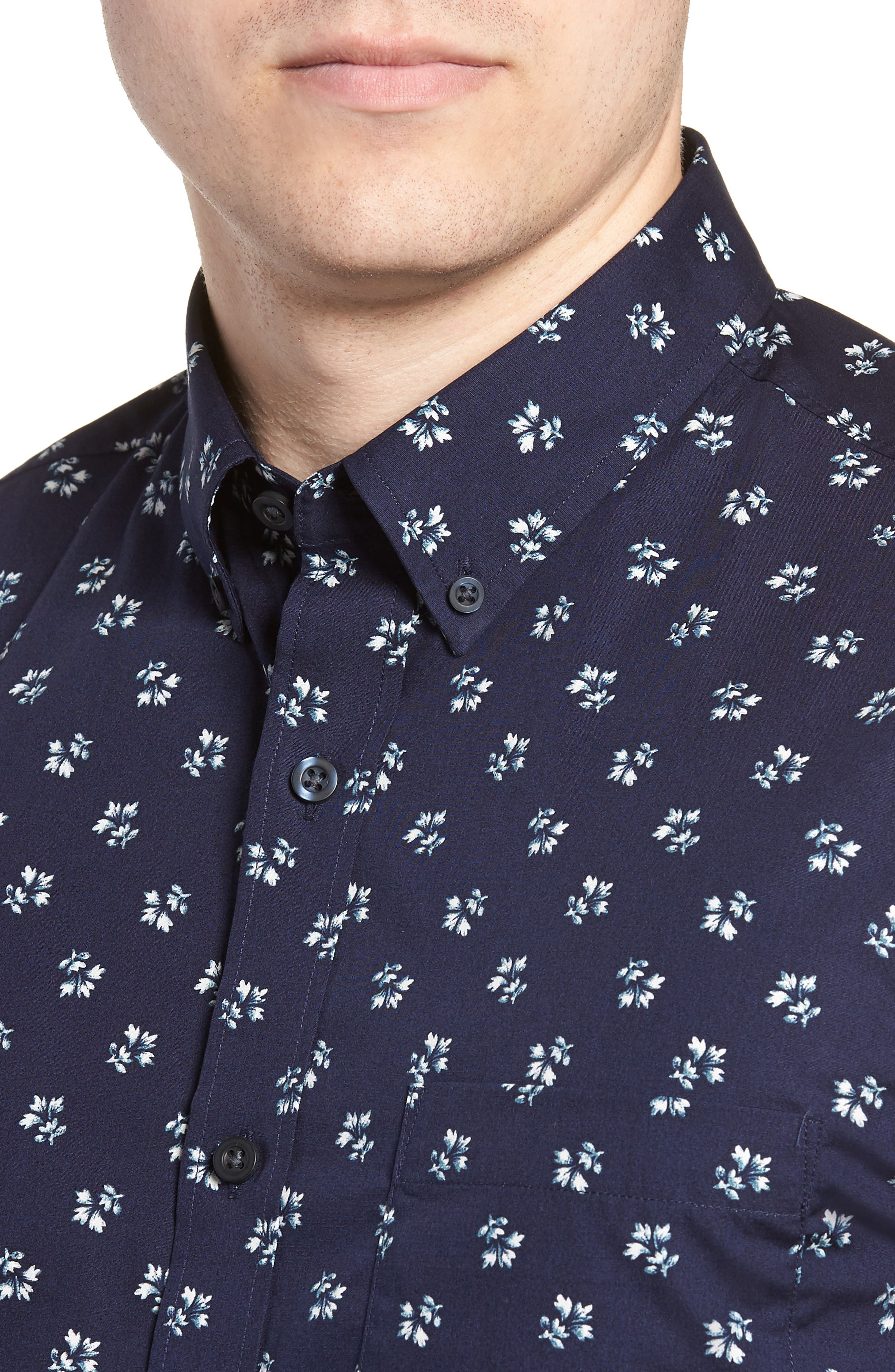 Trim Fit Non-Iron Print Sport Shirt,                             Alternate thumbnail 4, color,                             NAVY NIGHT FLORAL PRINT