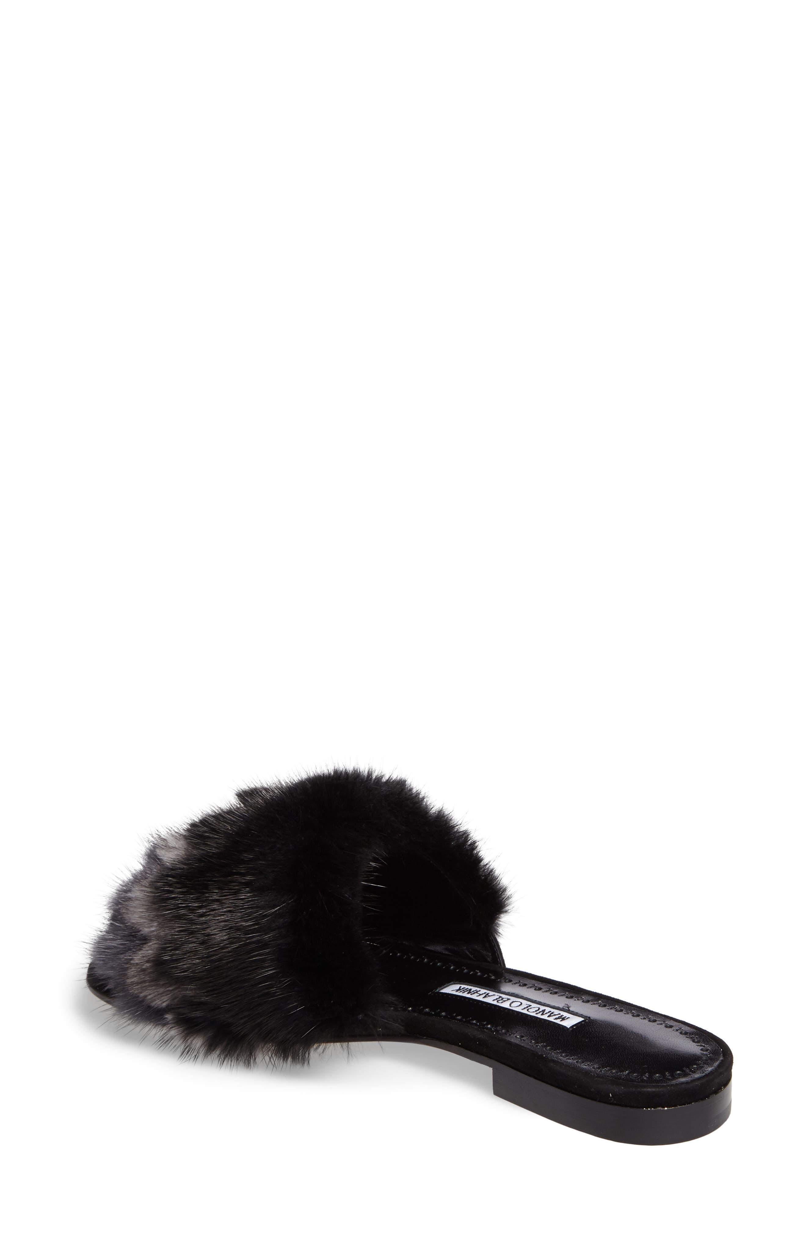 Pelosusmin Genuine Mink Fur Slide Sandal,                             Alternate thumbnail 2, color,                             001