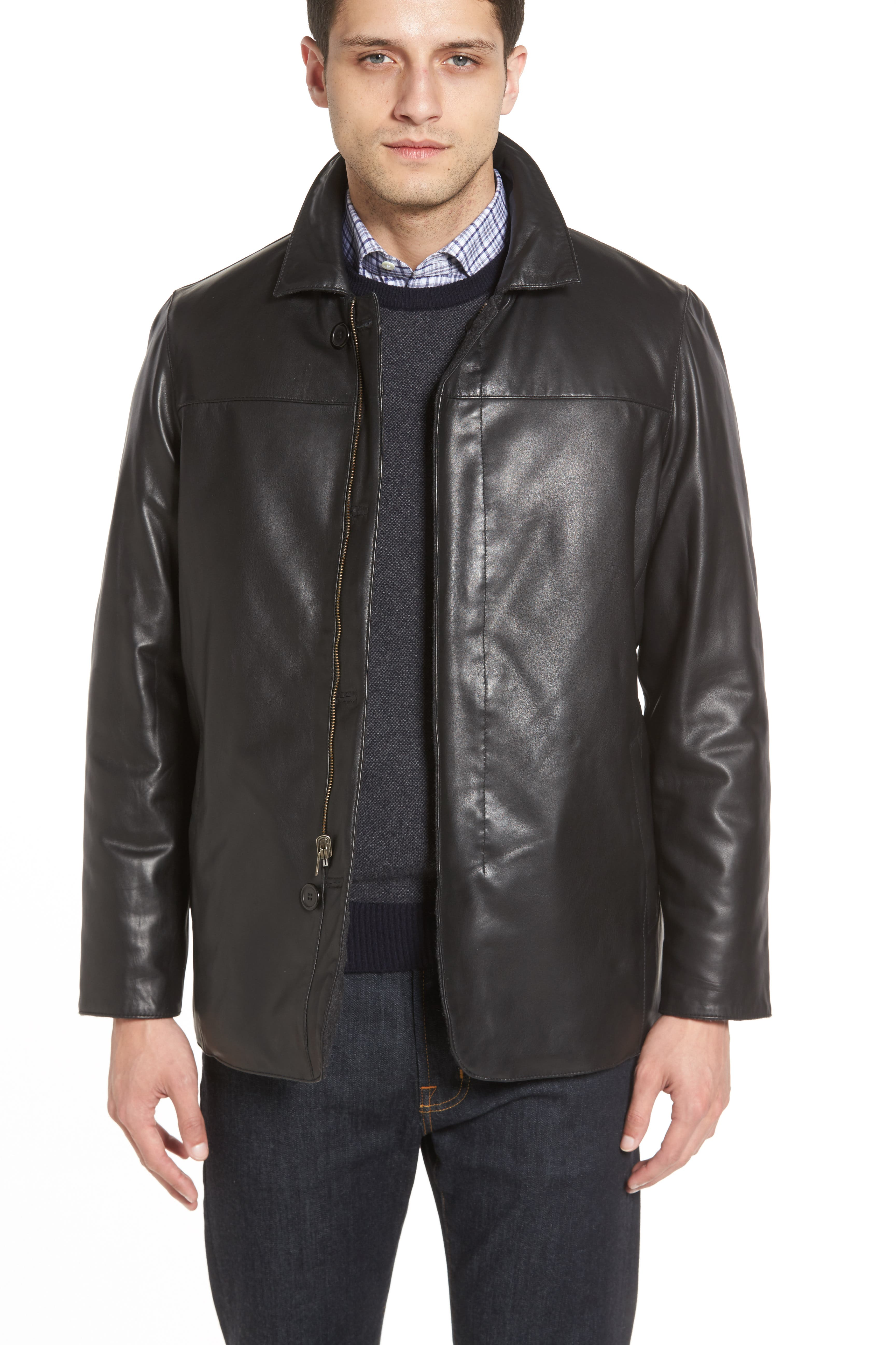 Reversible Lambskin Leather & Quilted Wool Jacket,                             Alternate thumbnail 2, color,