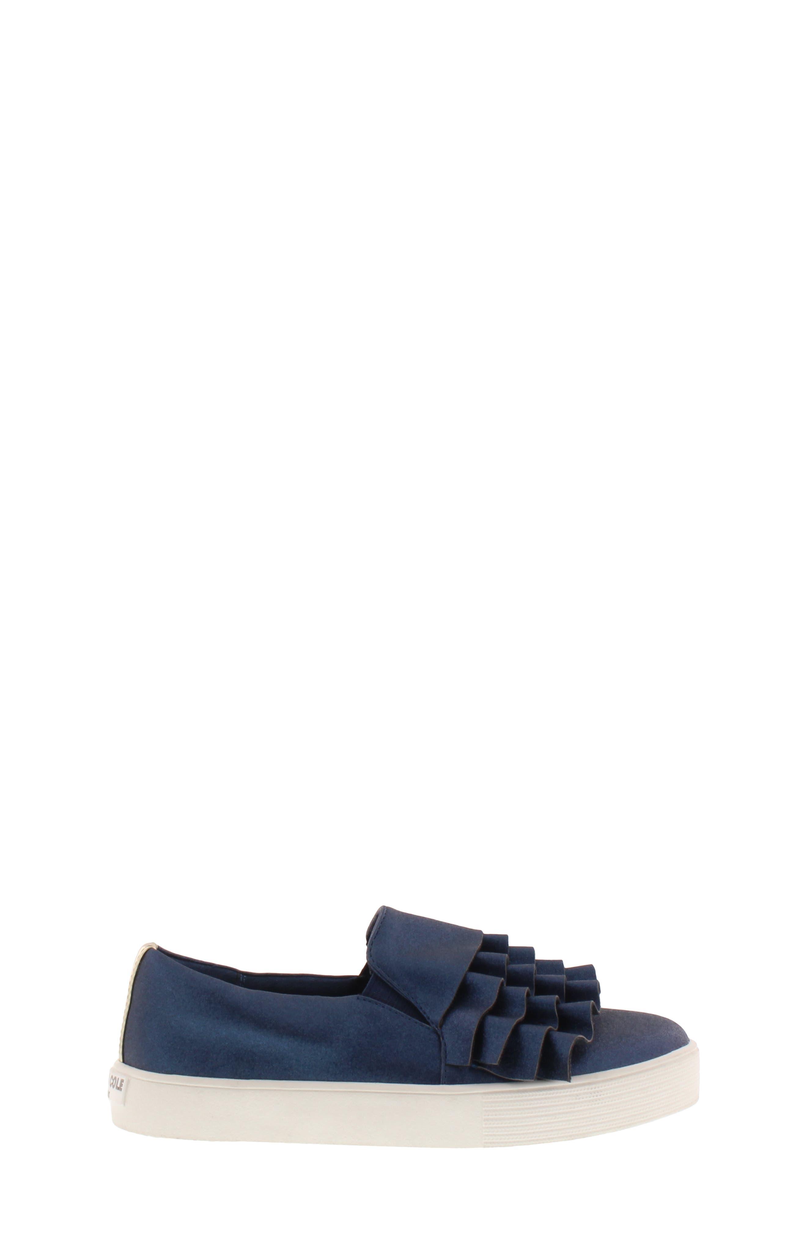 Shimmery Kam Ruffle Slip-On Sneaker,                             Alternate thumbnail 3, color,                             NAVY