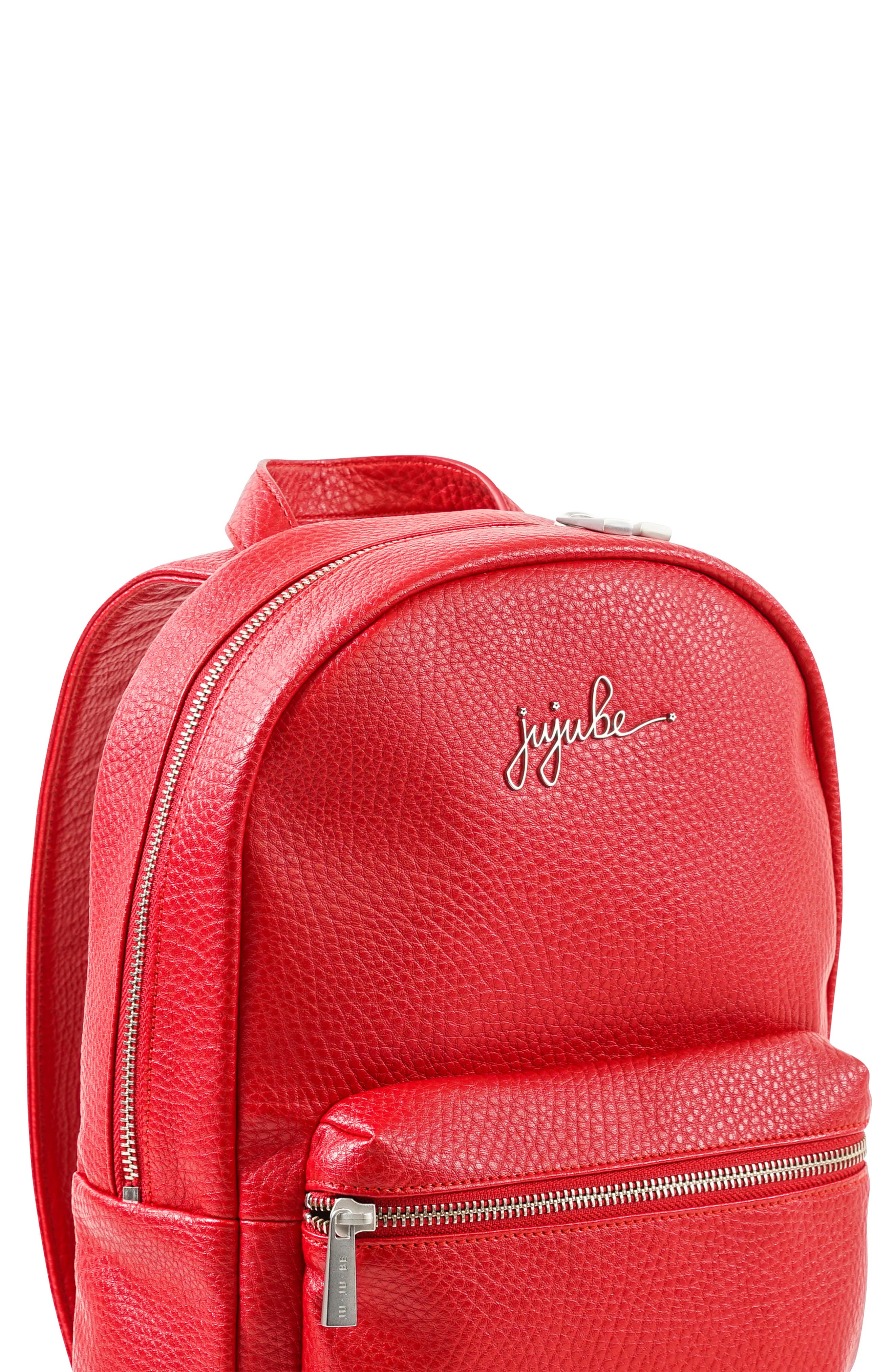 Infant JuJuBe Ever Collection Mini Faux Leather Diaper Backpack  Red