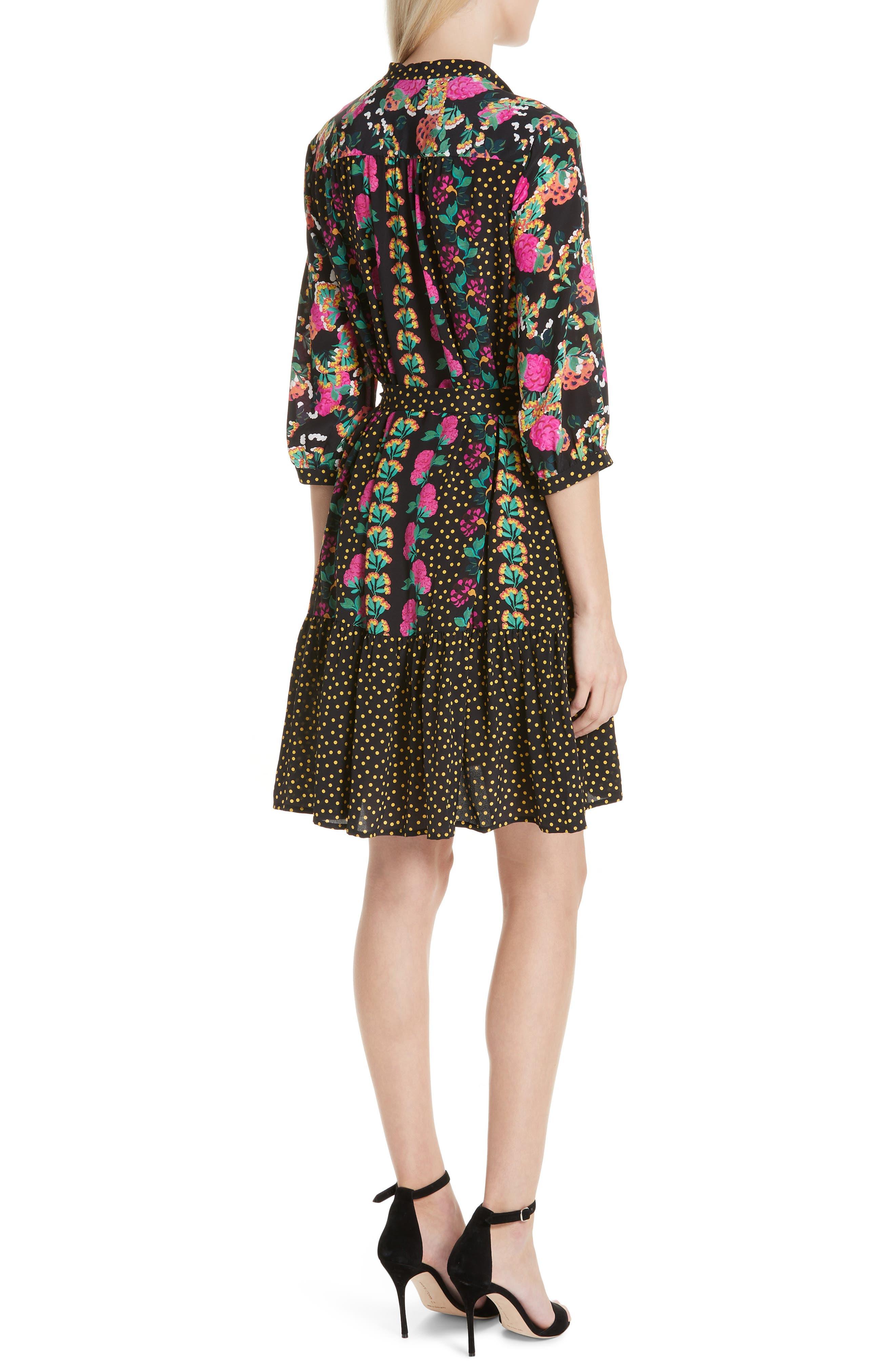 Tyra Print Silk Fit & Flare Dress,                             Alternate thumbnail 2, color,                             001