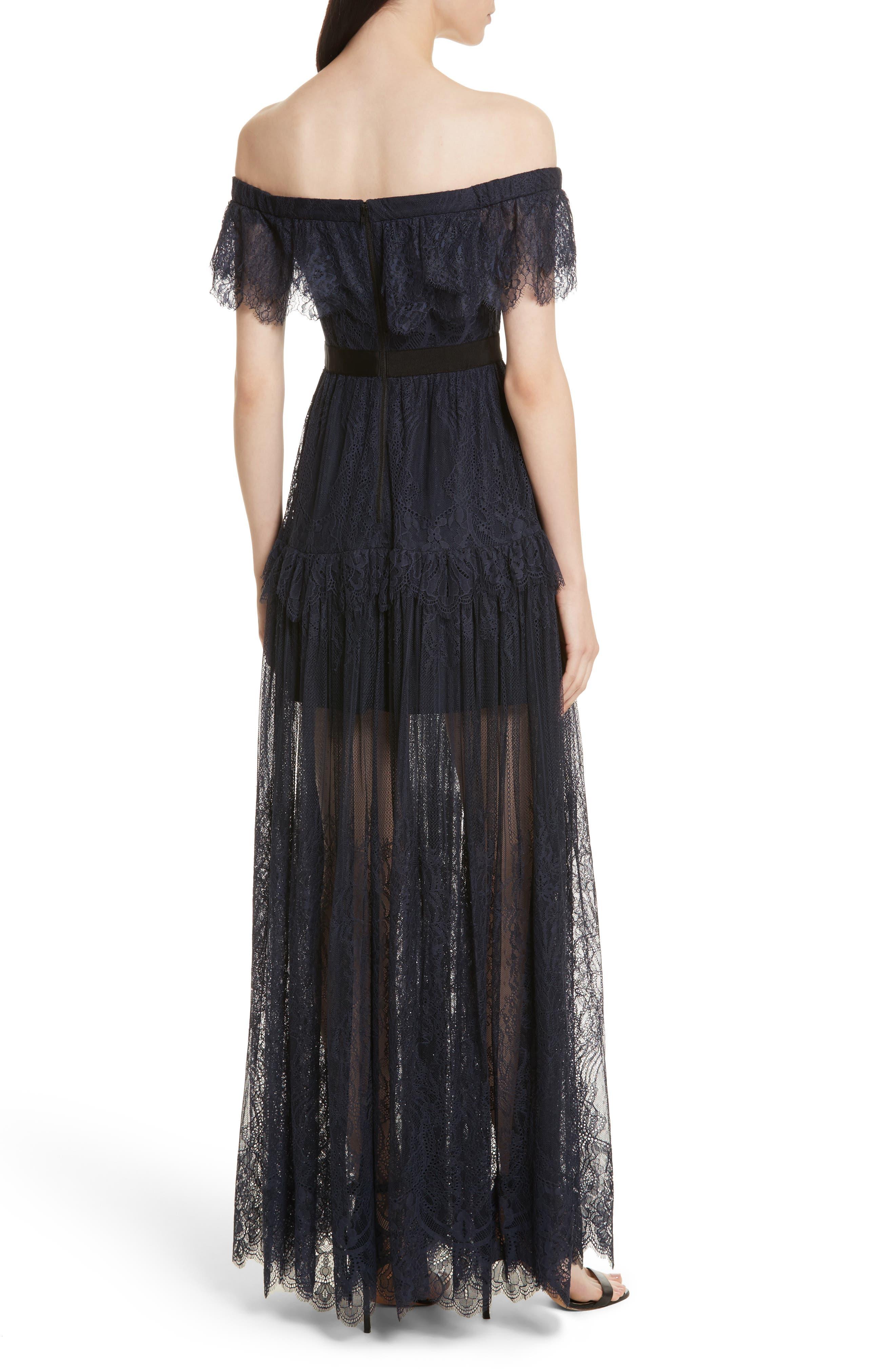Fine Lace Off the Shoulder Maxi Dress,                             Alternate thumbnail 2, color,                             410