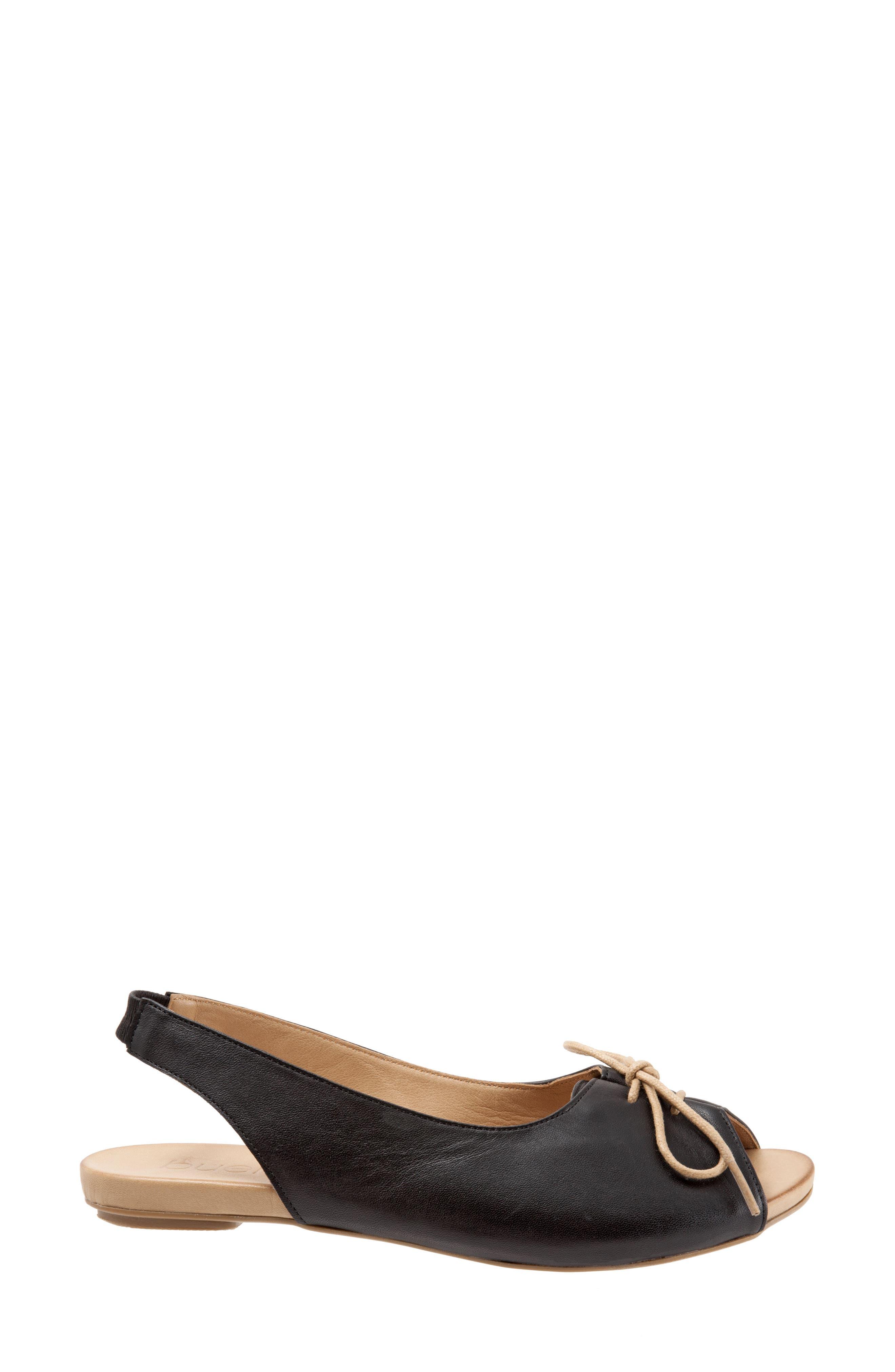 Keely Slingback Tie Sandal,                             Alternate thumbnail 3, color,                             BLACK LEATHER