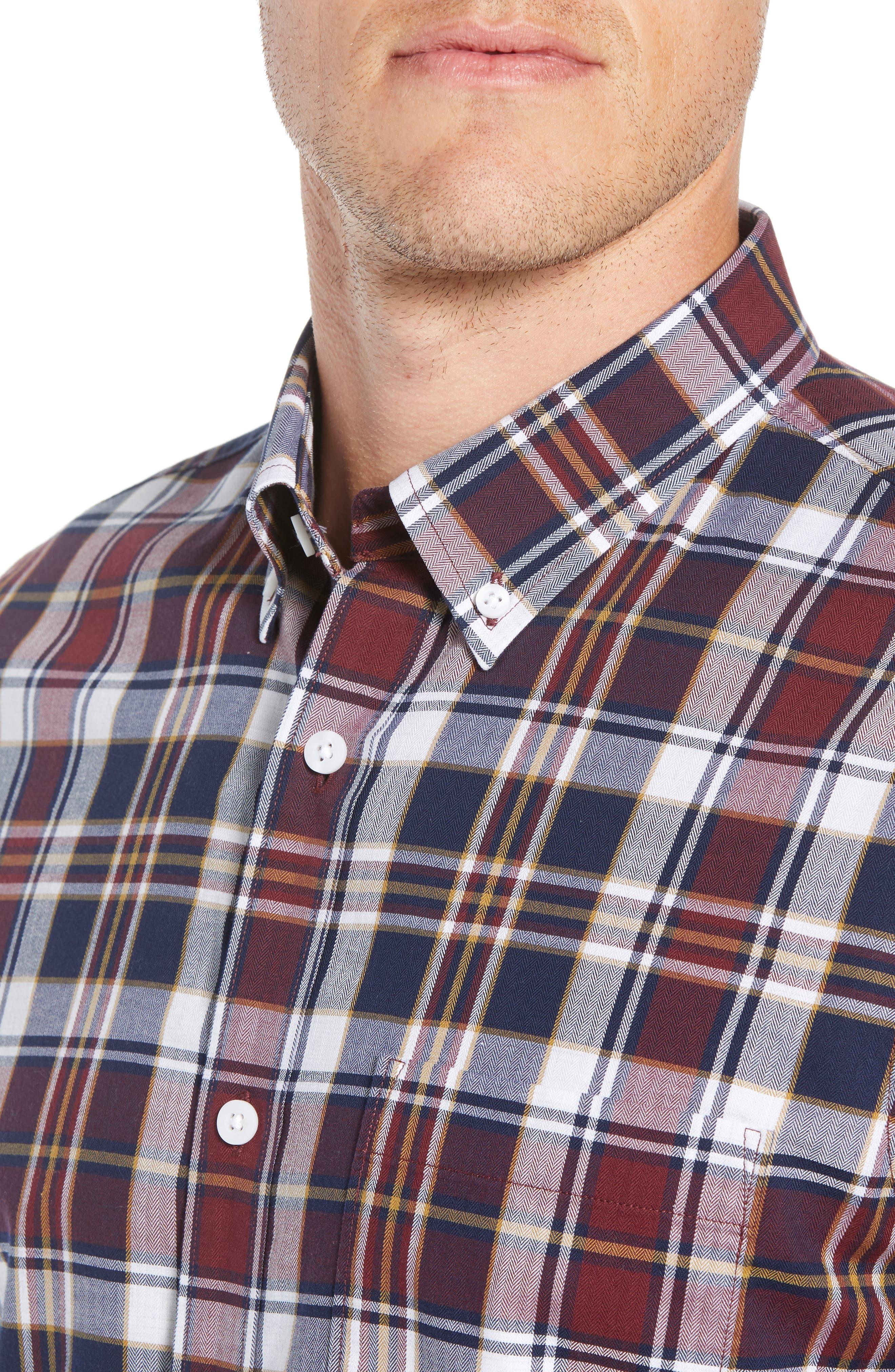 Trim Fit Plaid Sport Shirt,                             Alternate thumbnail 2, color,                             410