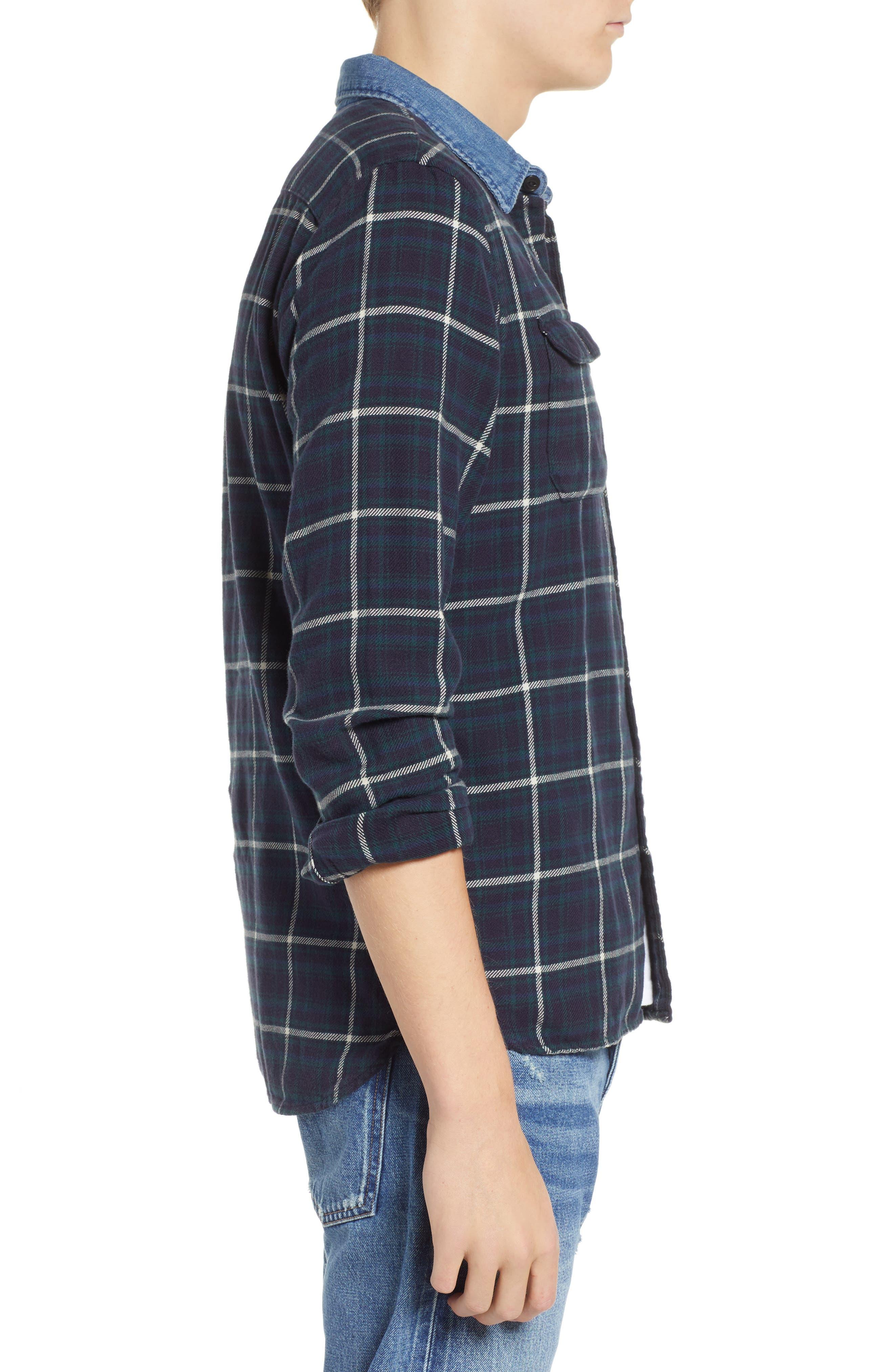 x Justin Timberlake Slim Fit Flannel Worker Shirt,                             Alternate thumbnail 4, color,                             HALLET NIGHT SKY