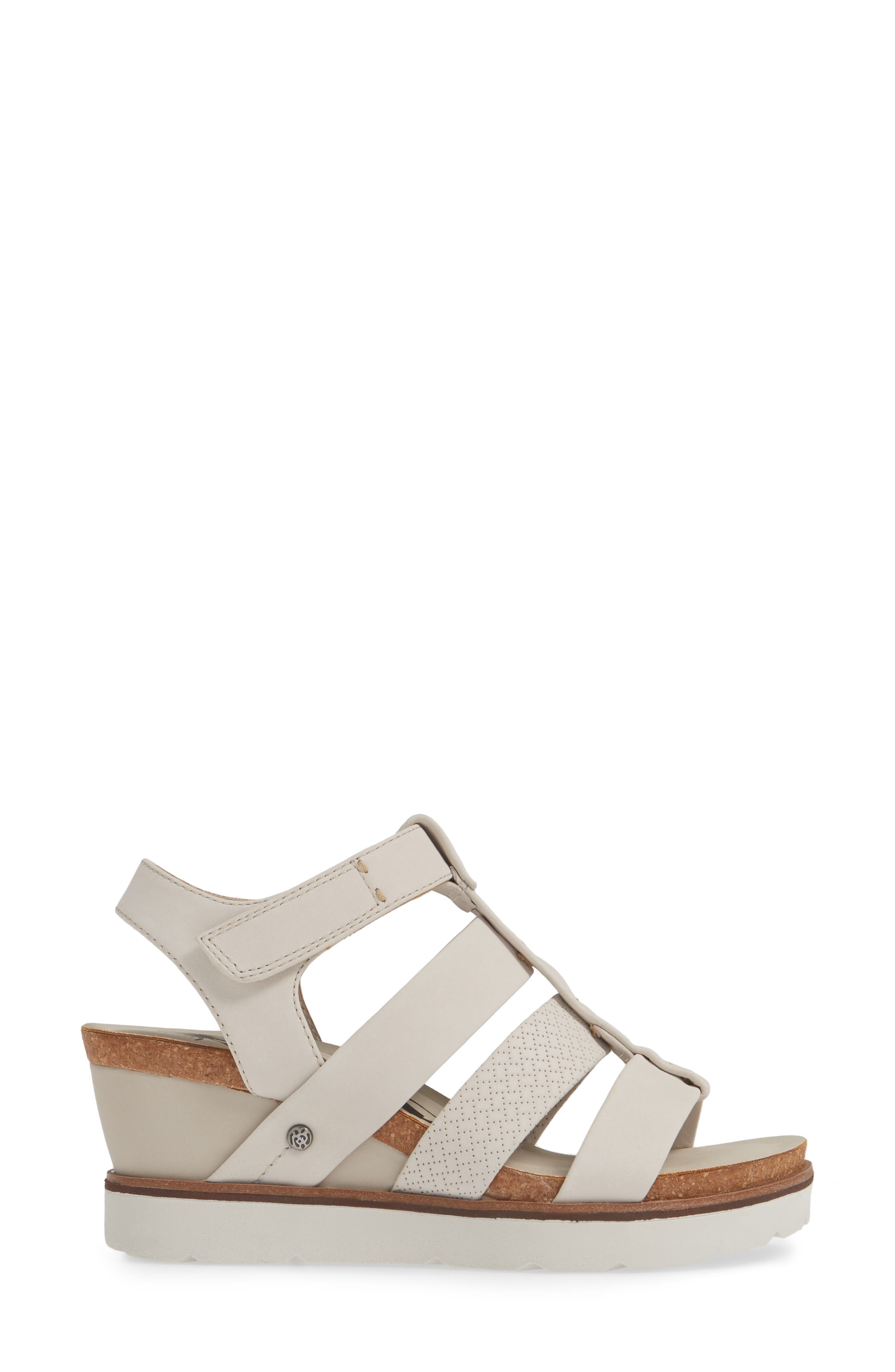 New Moon Wedge Sandal,                             Alternate thumbnail 3, color,                             DOVE GREY LEATHER
