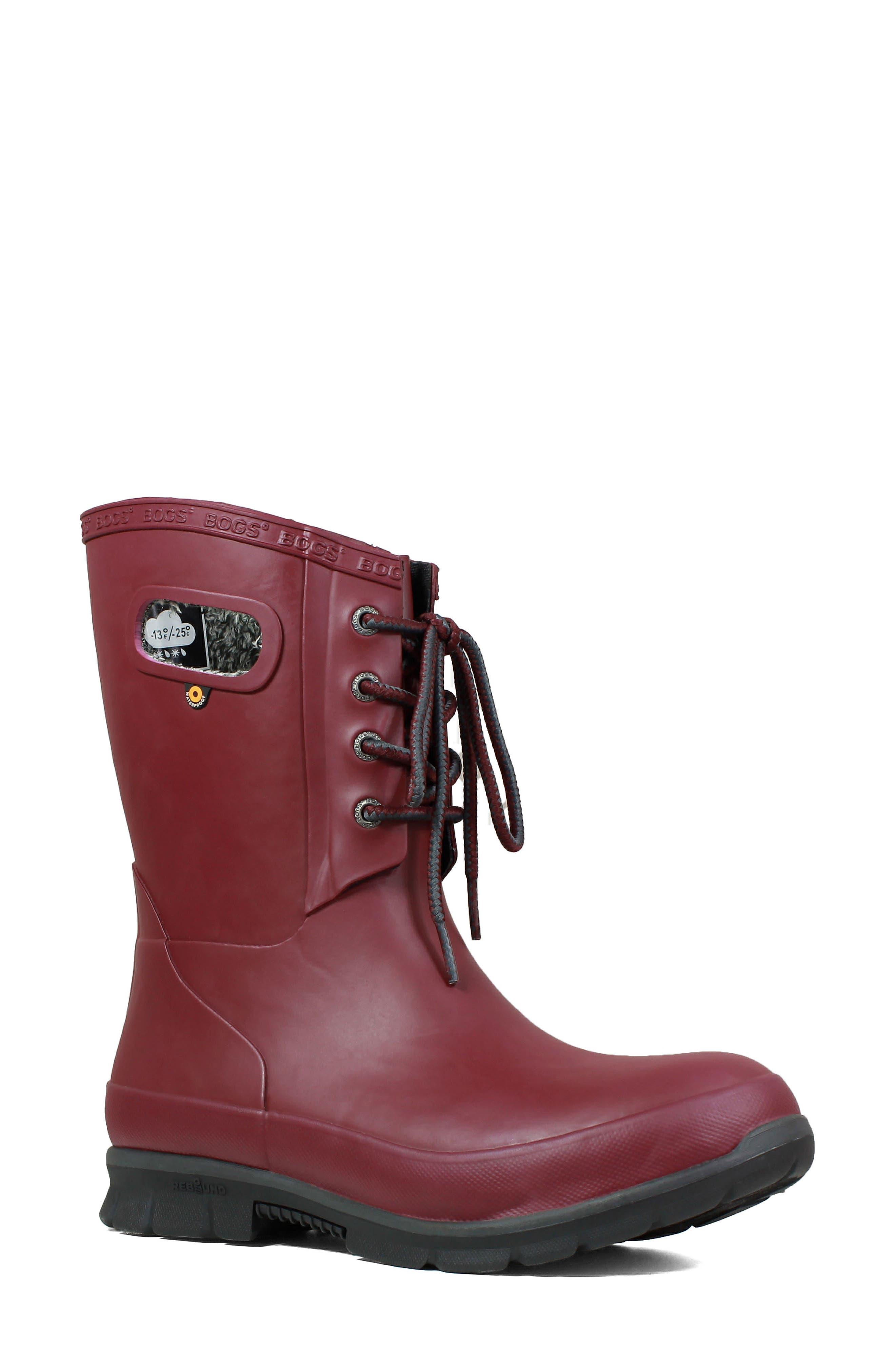 Bogs Amanda Plush Waterproof Rain Boot, Burgundy