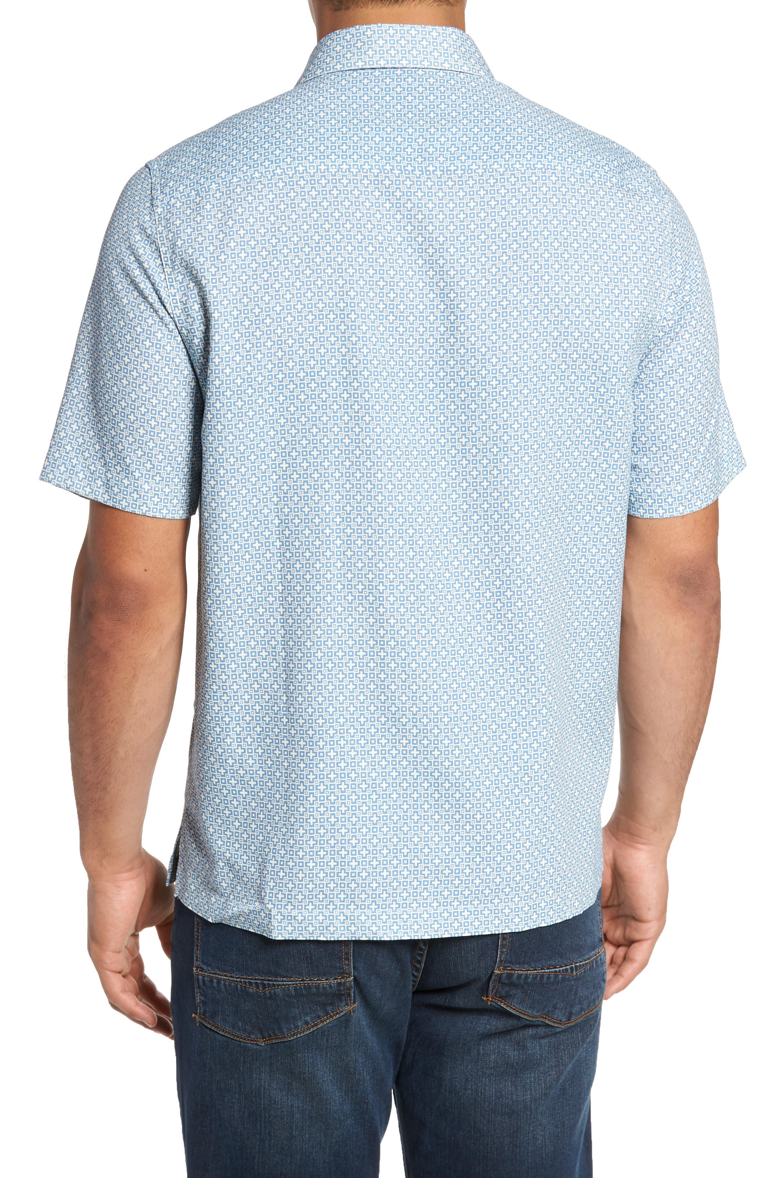 Everest Print Silk Blend Sport Shirt,                             Alternate thumbnail 5, color,