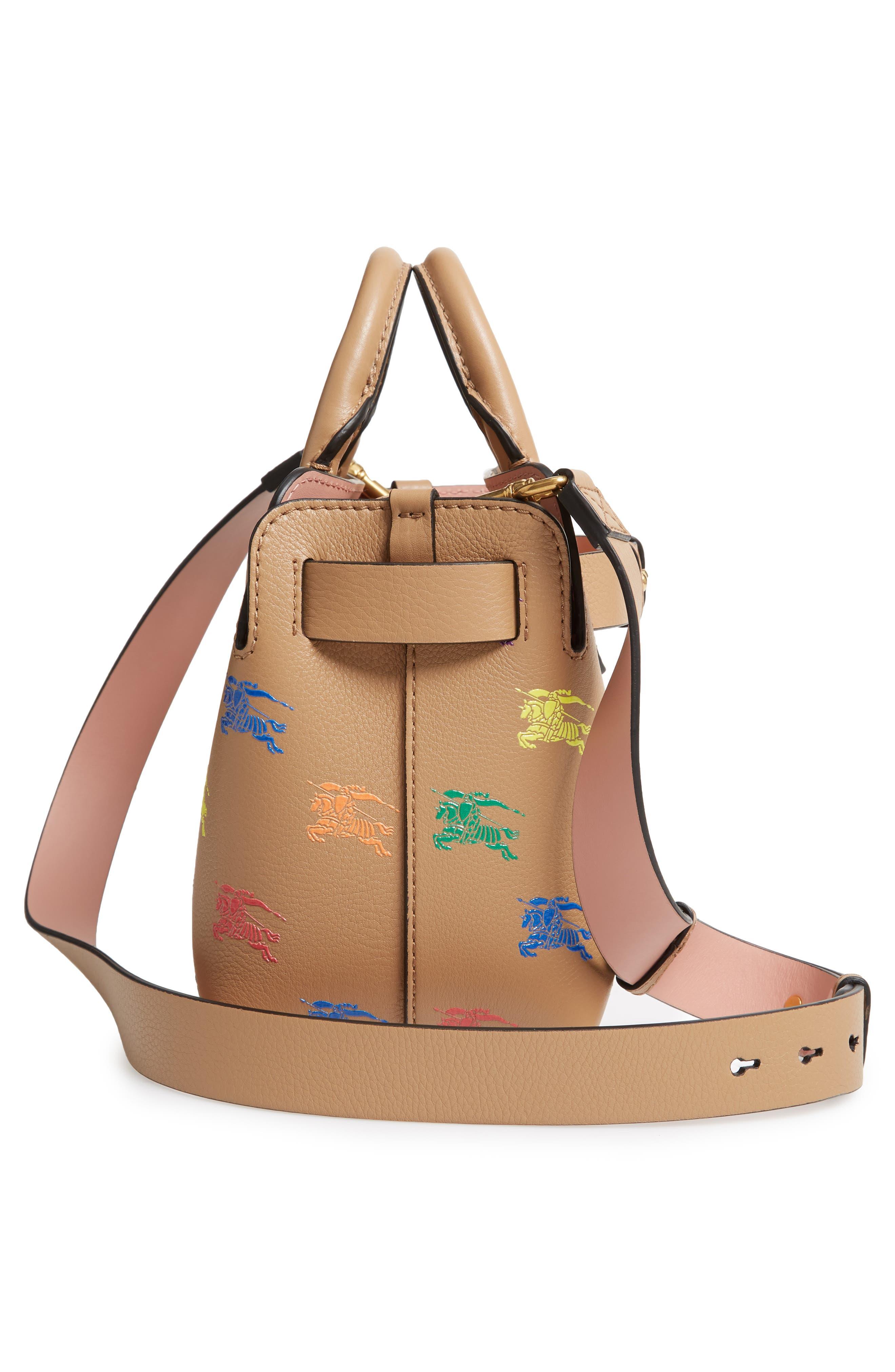 Baby Belt Bag Rainbow Logo Leather Tote,                             Alternate thumbnail 5, color,                             LIGHT CAMEL