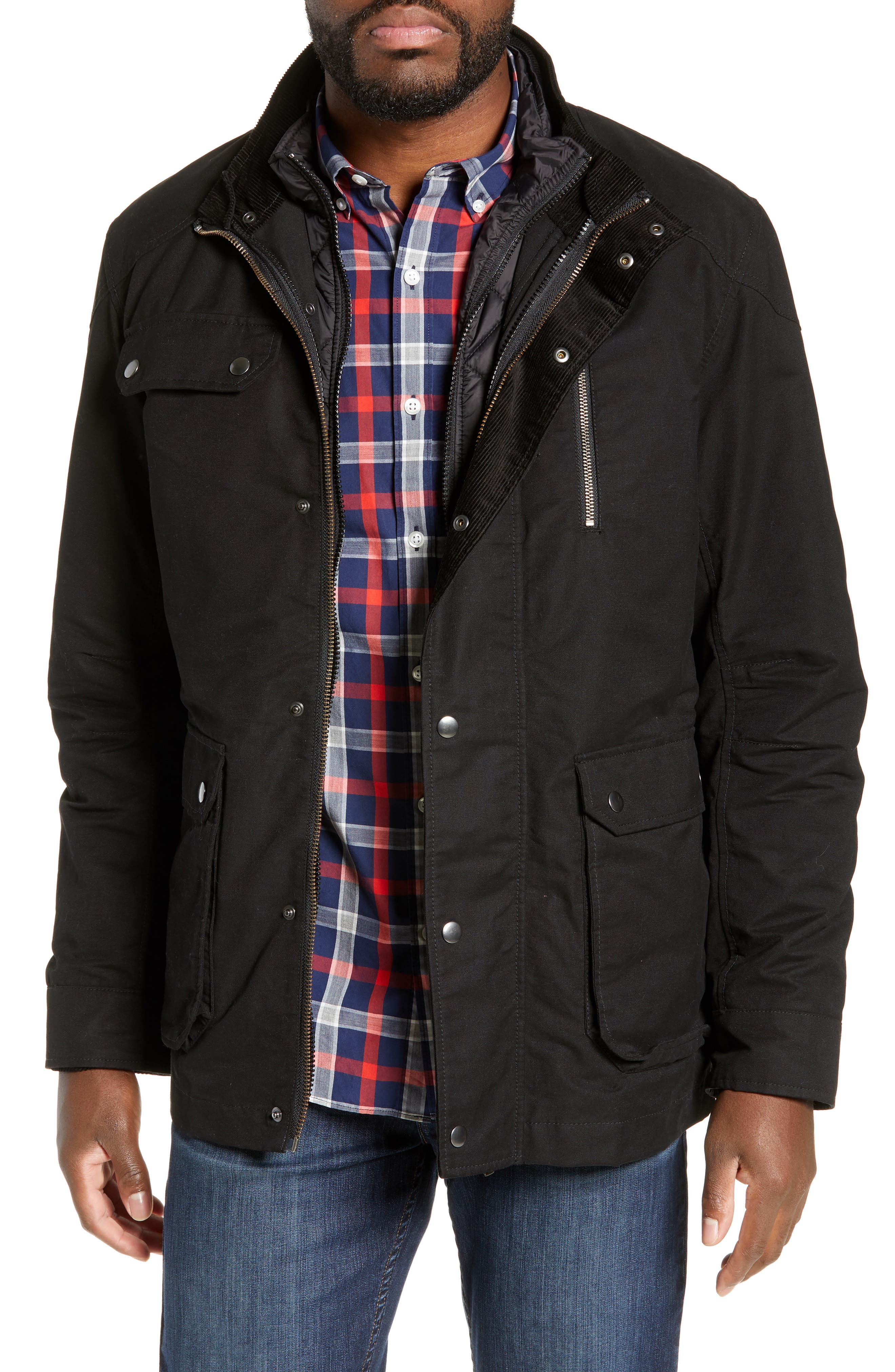 'Harper' Water Resistant 3-in-1 Waxed Canvas Jacket, Main, color, ONYX