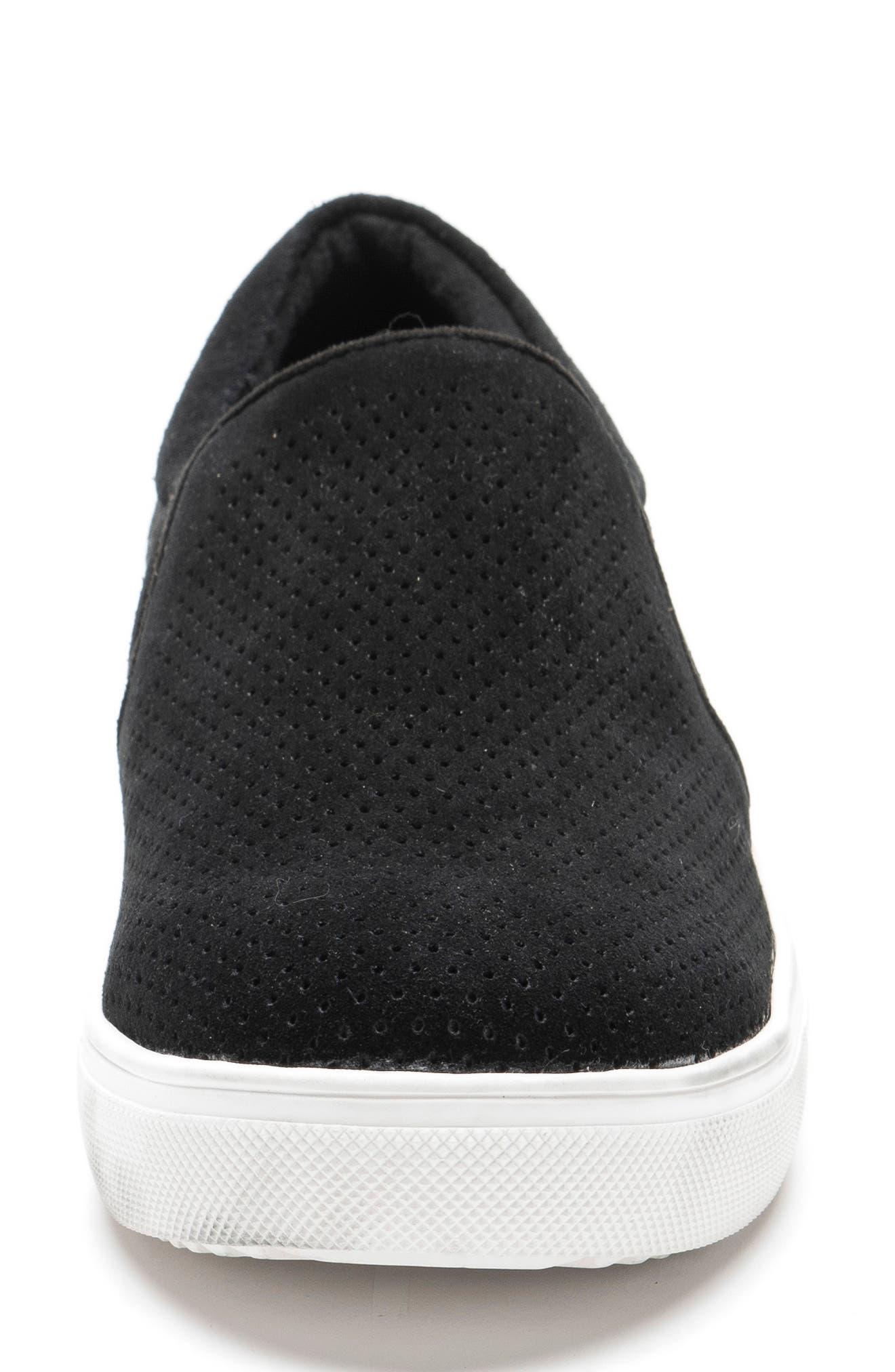 Gallert Perforated Waterproof Platform Sneaker,                             Alternate thumbnail 4, color,                             BLACK SUEDE