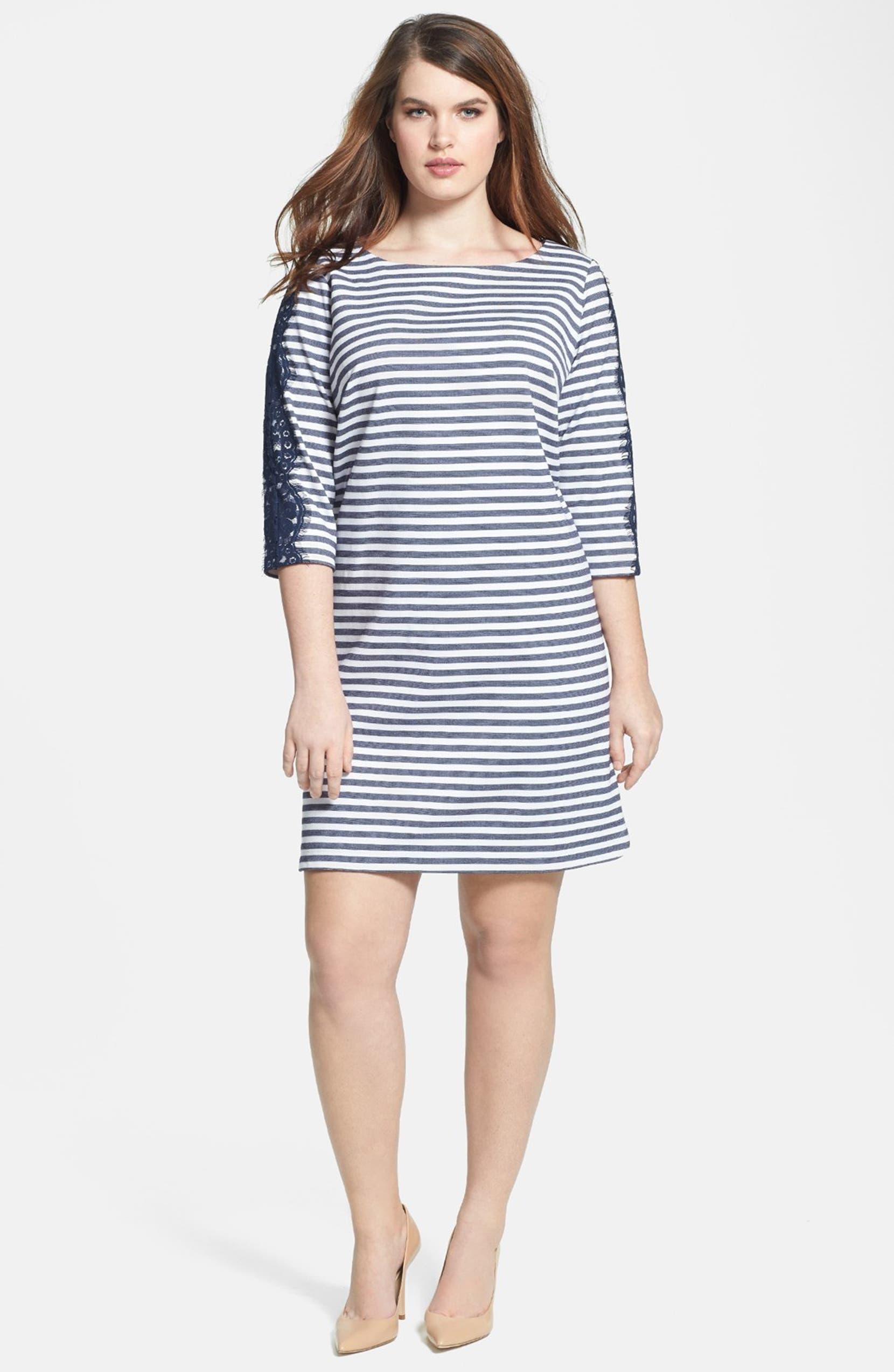 Stripe & Lace Ponte Knit Shift Dress