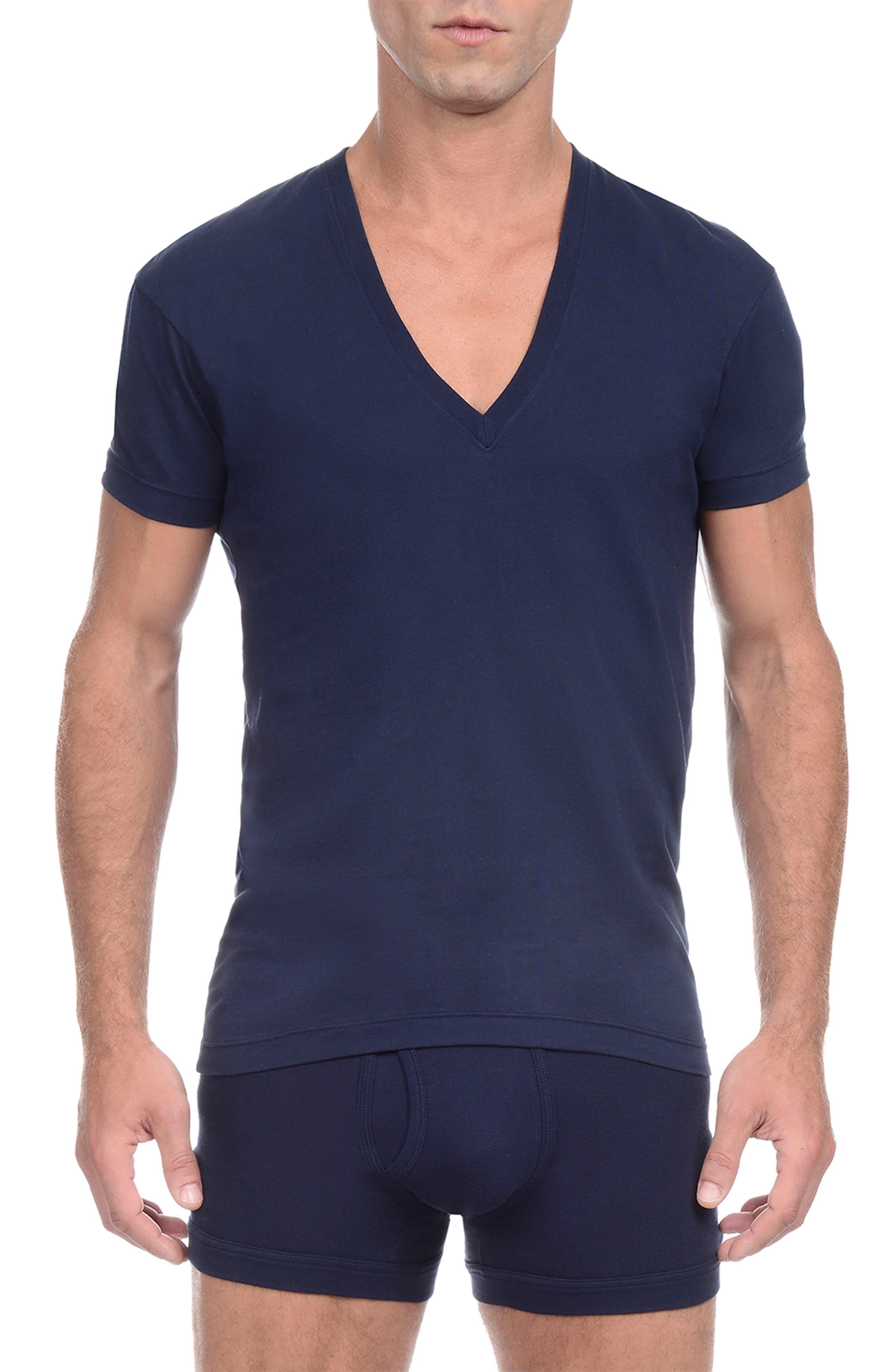 Slim Fit Pima Cotton Deep V-Neck T-Shirt,                         Main,                         color, 480
