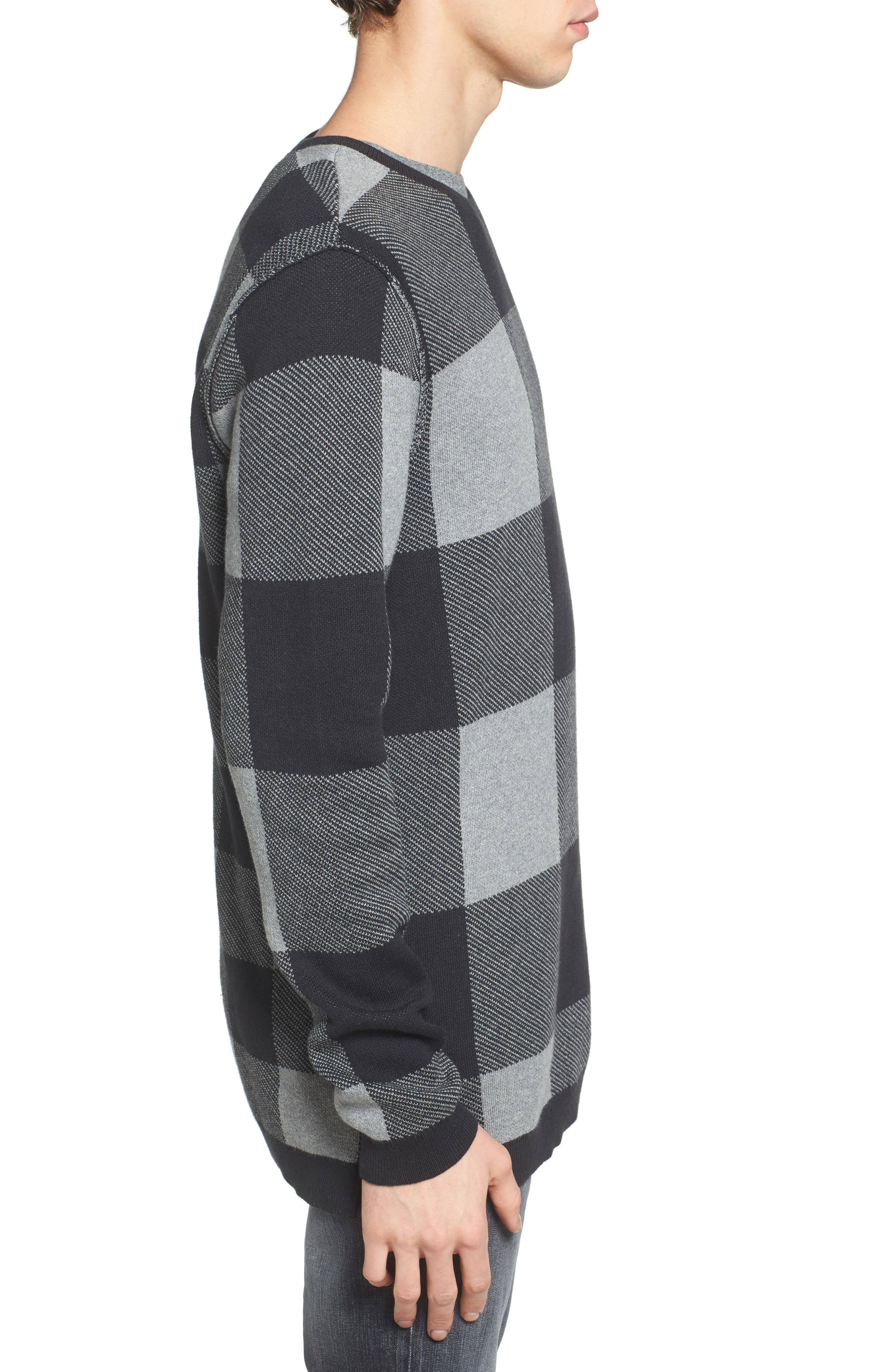 Oversize Buffalo Check Sweater,                             Alternate thumbnail 3, color,                             030
