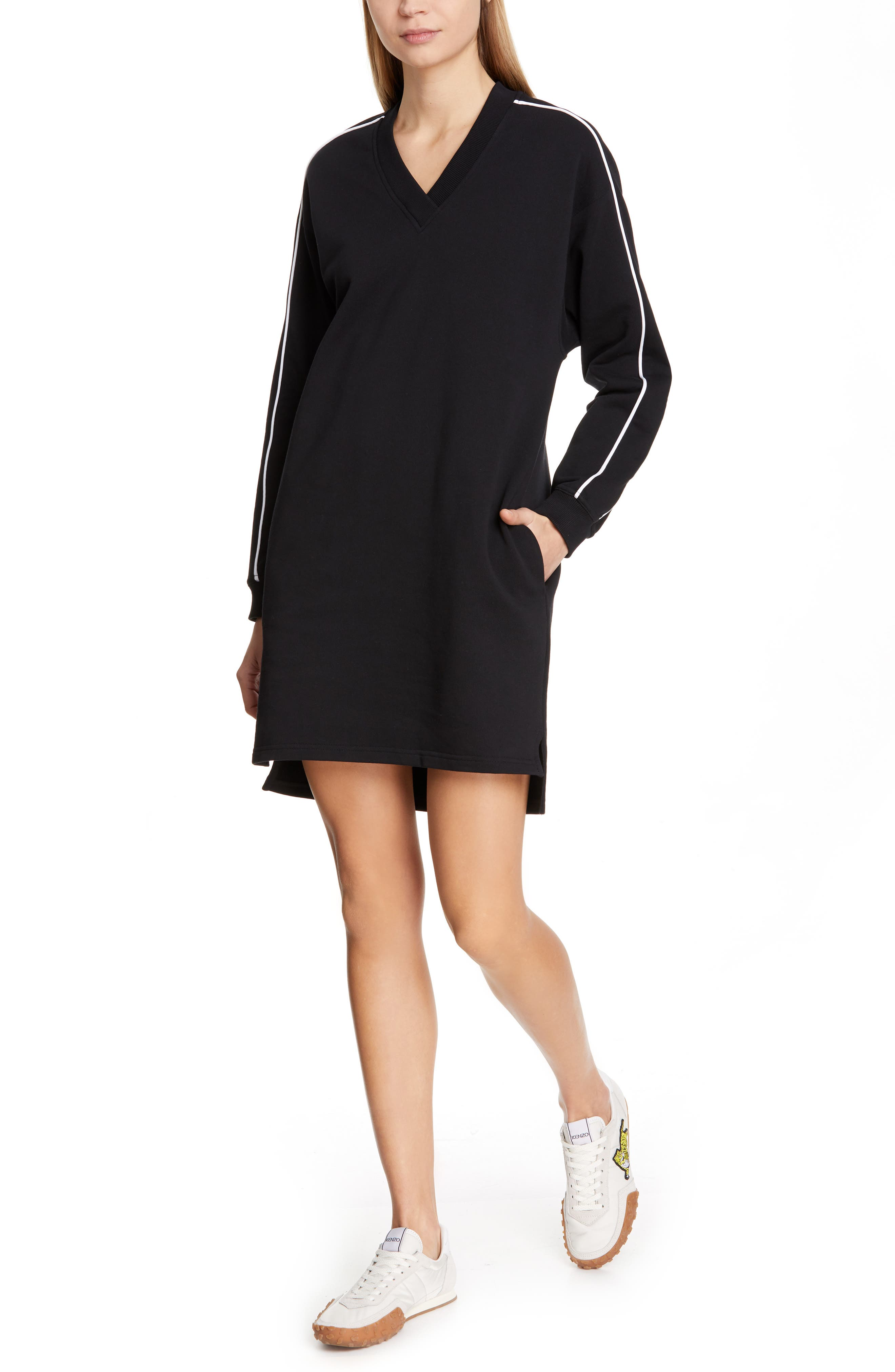 KENZO,                             Sport Sweatshirt Dress,                             Main thumbnail 1, color,                             BLACK
