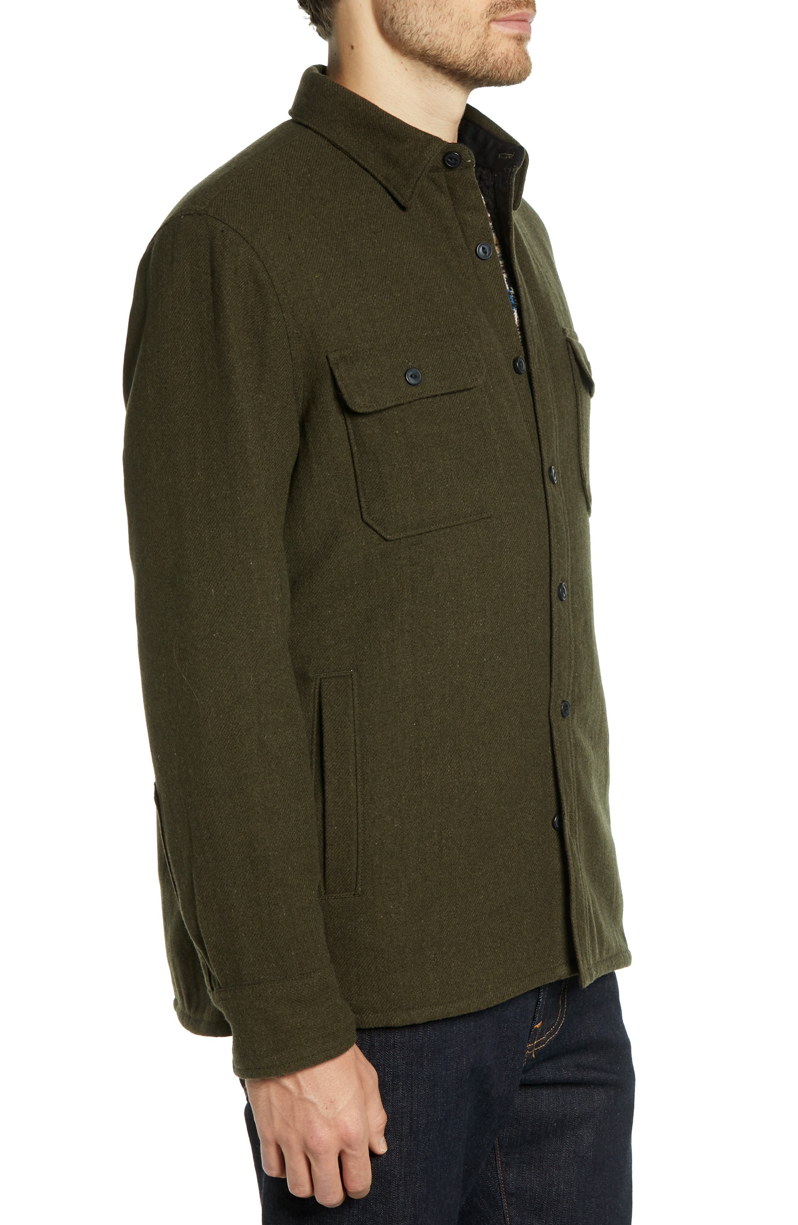 Lined Wool Blend Shirt Jacket,                             Alternate thumbnail 3, color,                             GREEN FOREST HEATHER