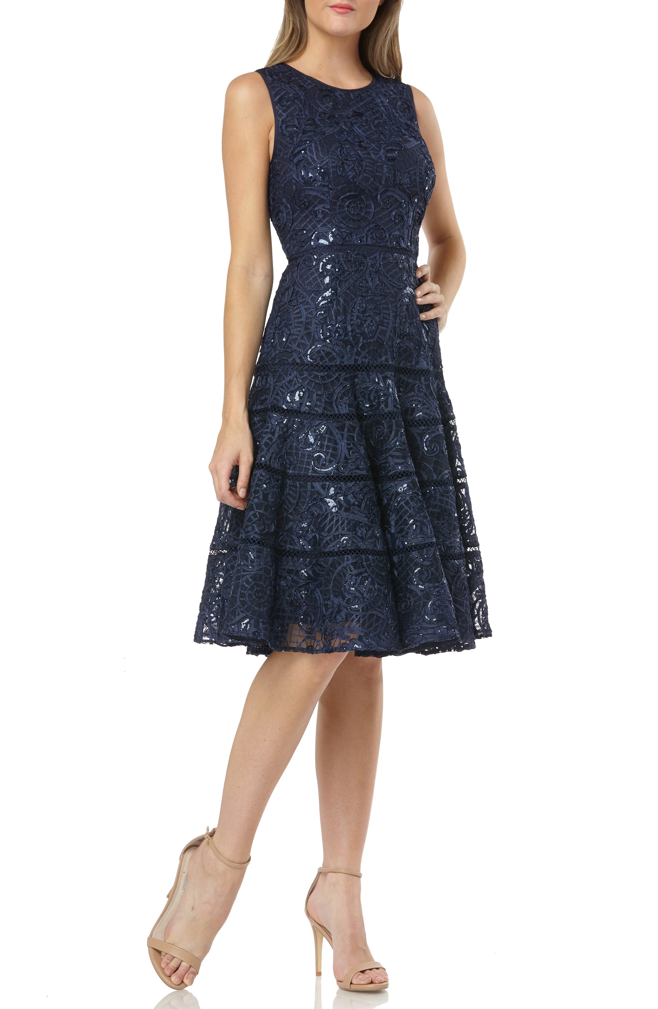 CARMEN MARC VALVO INFUSION Soutache Fit & Flare Dress in Navy