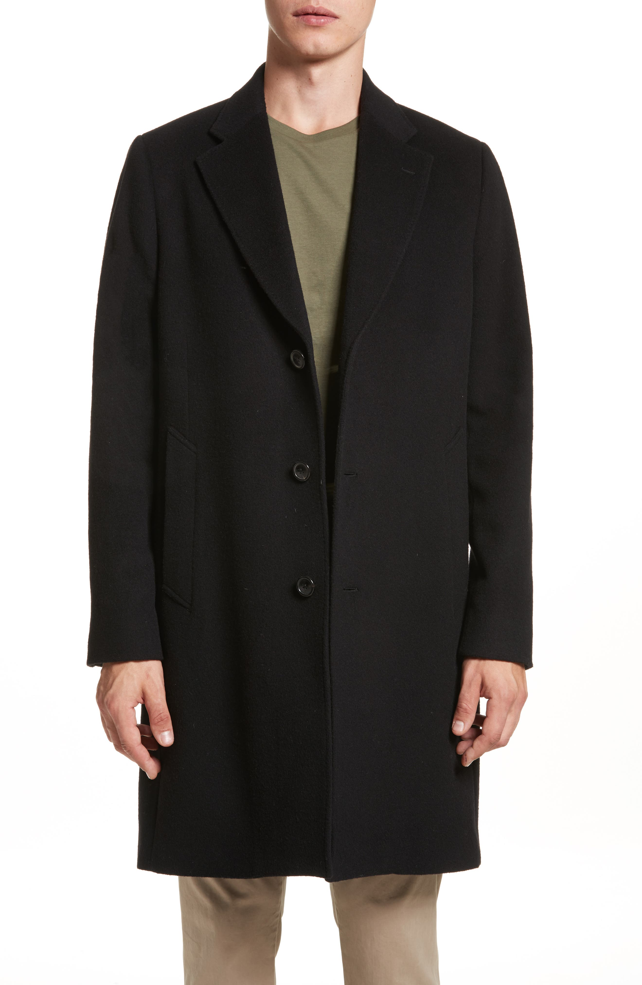 Wool & Cashmere Car Coat,                             Main thumbnail 1, color,                             001