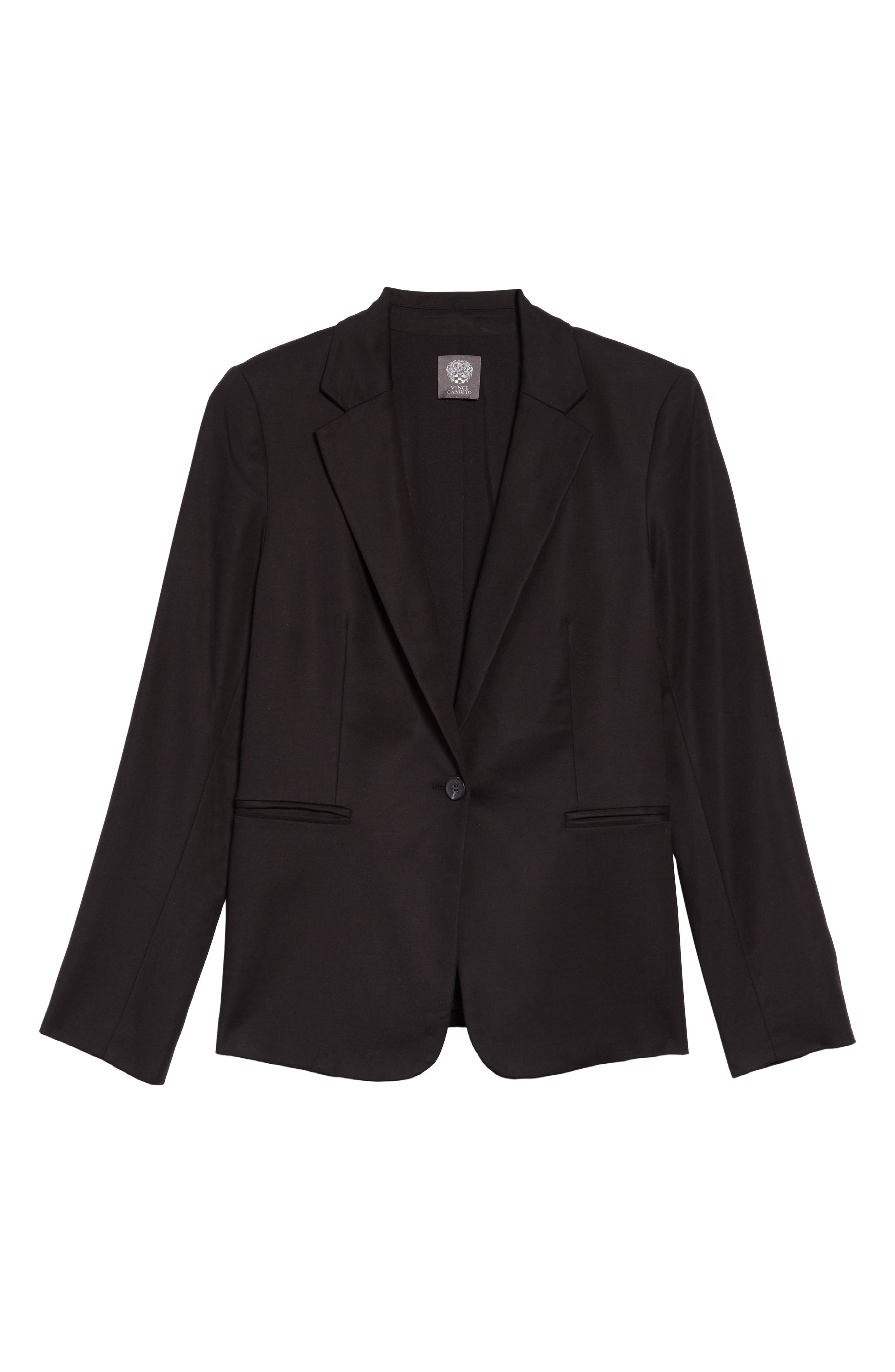 Lace-Up Back Double Weave Blazer,                             Alternate thumbnail 4, color,                             RICH BLACK