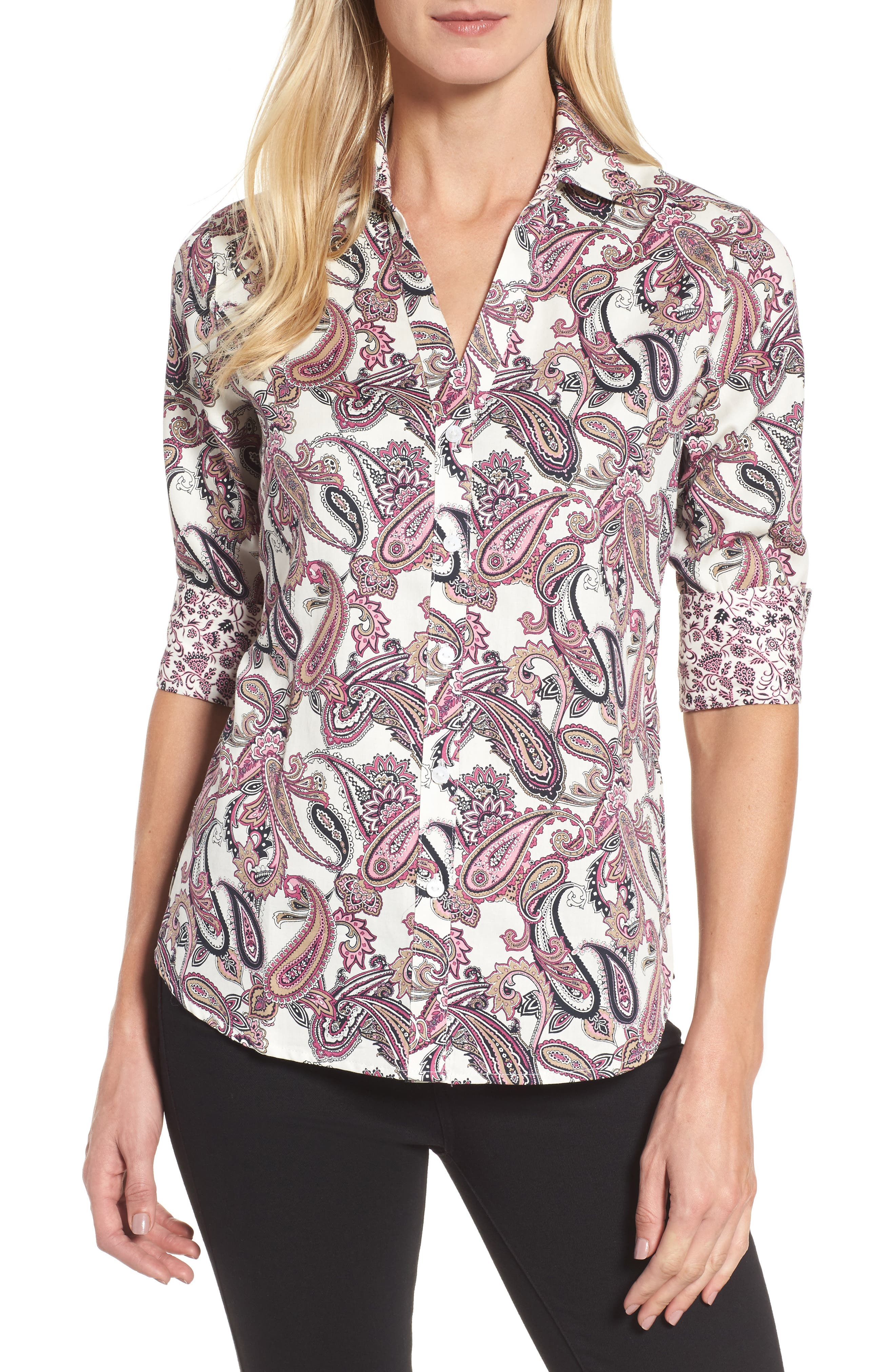 Mary Paisley Wrinkle Free Shirt,                         Main,                         color, 935