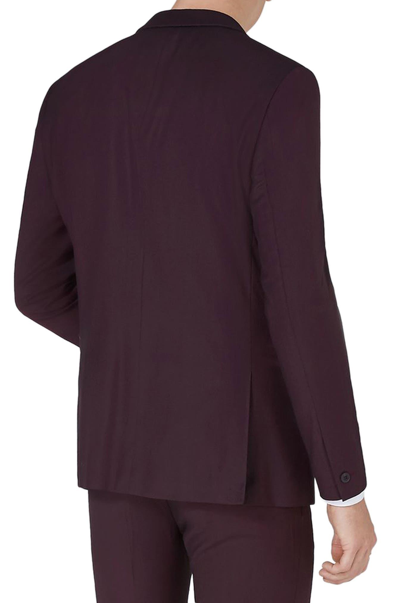 Skinny Fit Plum One-Button Suit Jacket,                             Alternate thumbnail 2, color,                             500