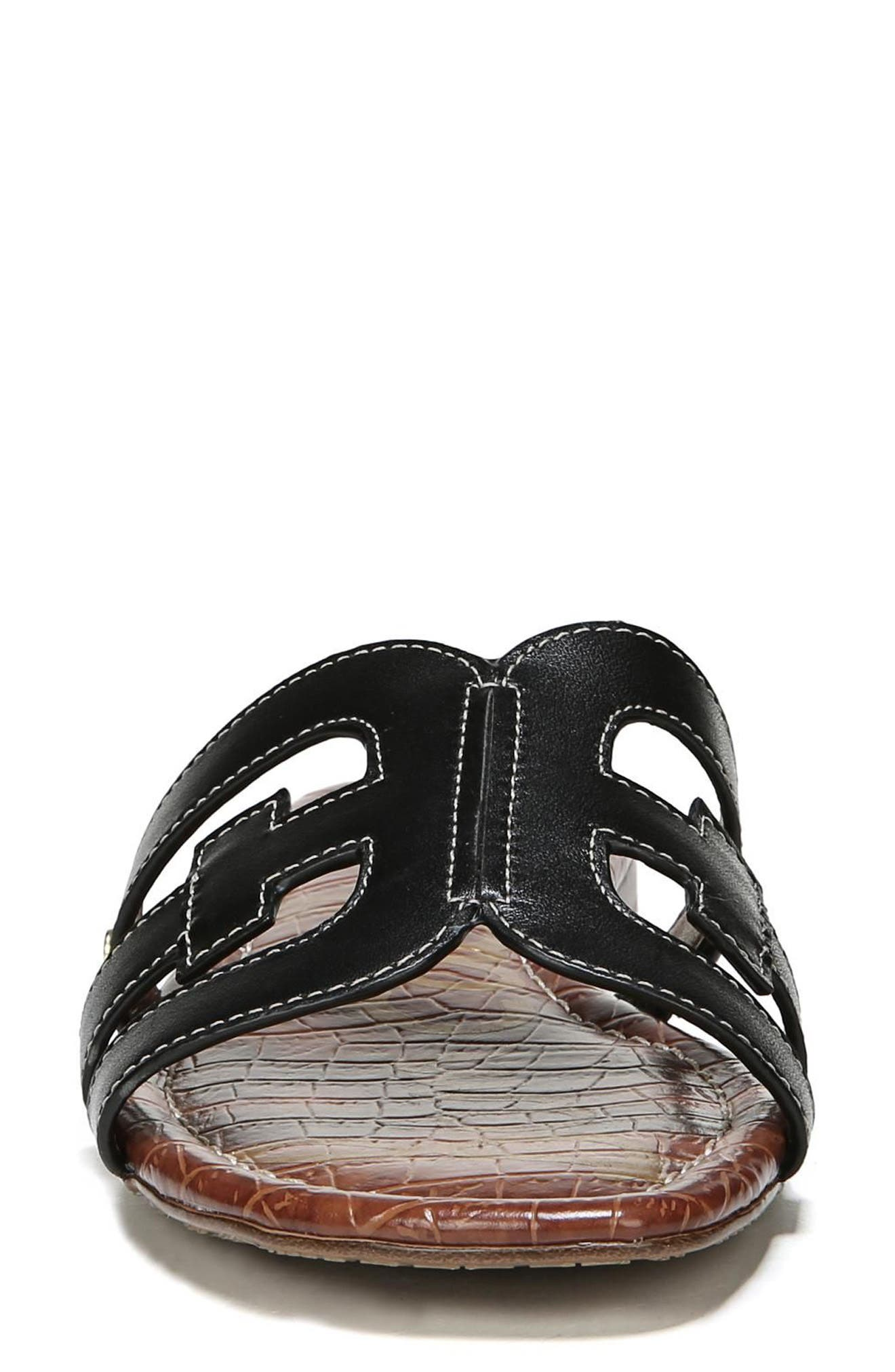 Bay Cutout Slide Sandal,                             Alternate thumbnail 4, color,                             BLACK LEATHER