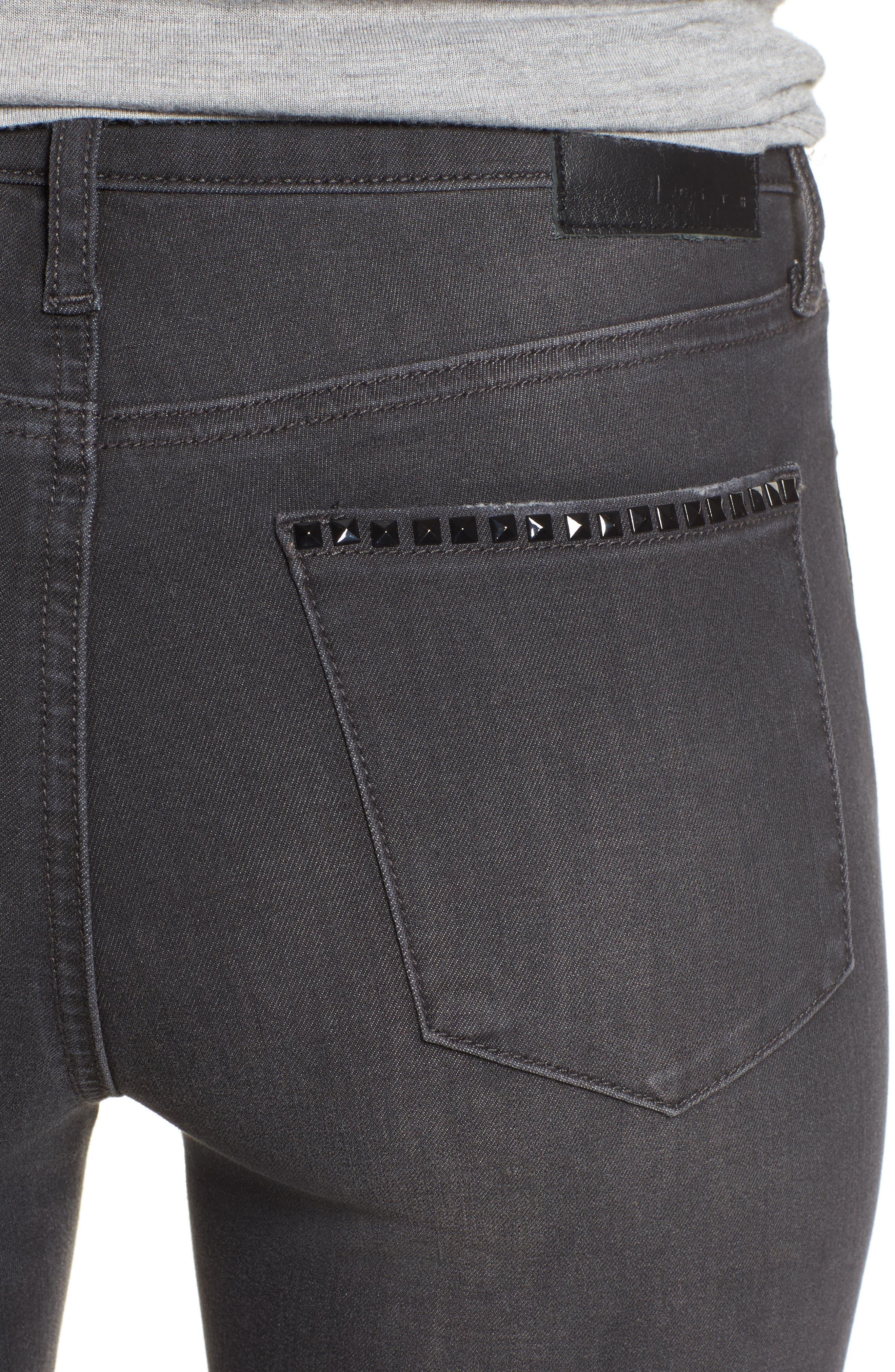 Studded Skinny Jeans,                             Alternate thumbnail 4, color,                             030