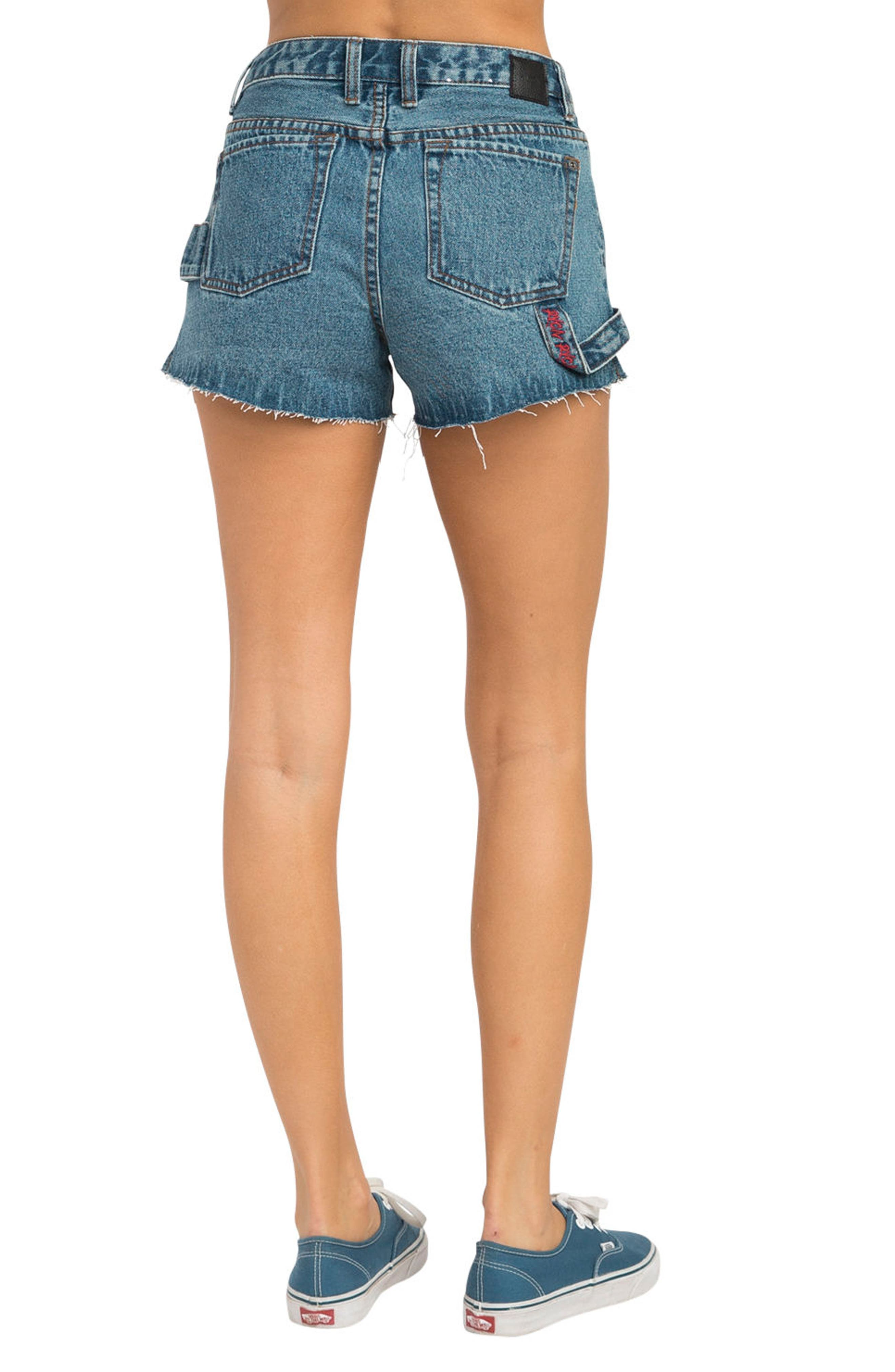 Highly Werked Raw Hem Denim Shorts,                             Alternate thumbnail 2, color,