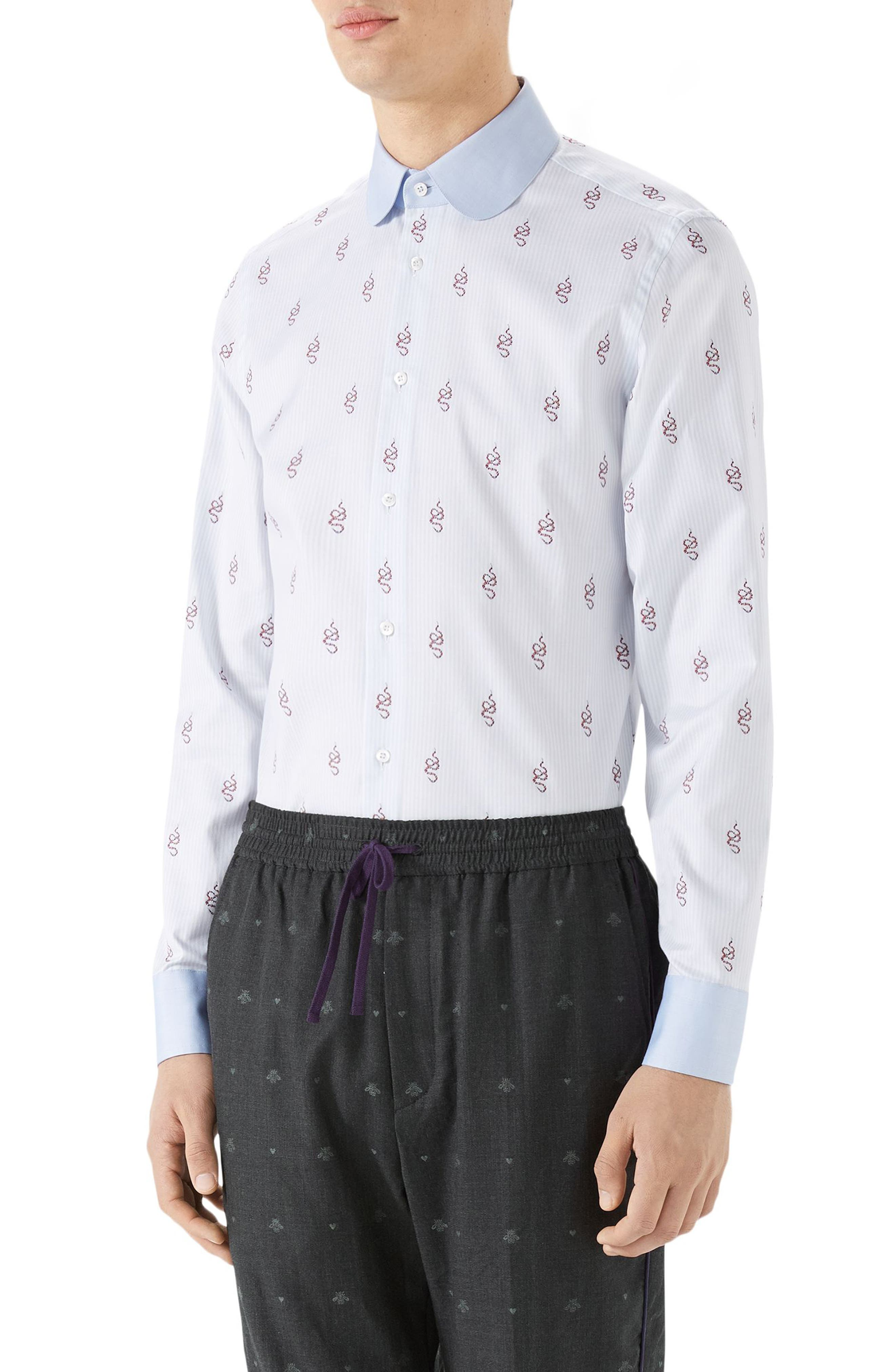 Kingsnake Fil Coupé Sport Shirt,                         Main,                         color, SKY BLUE