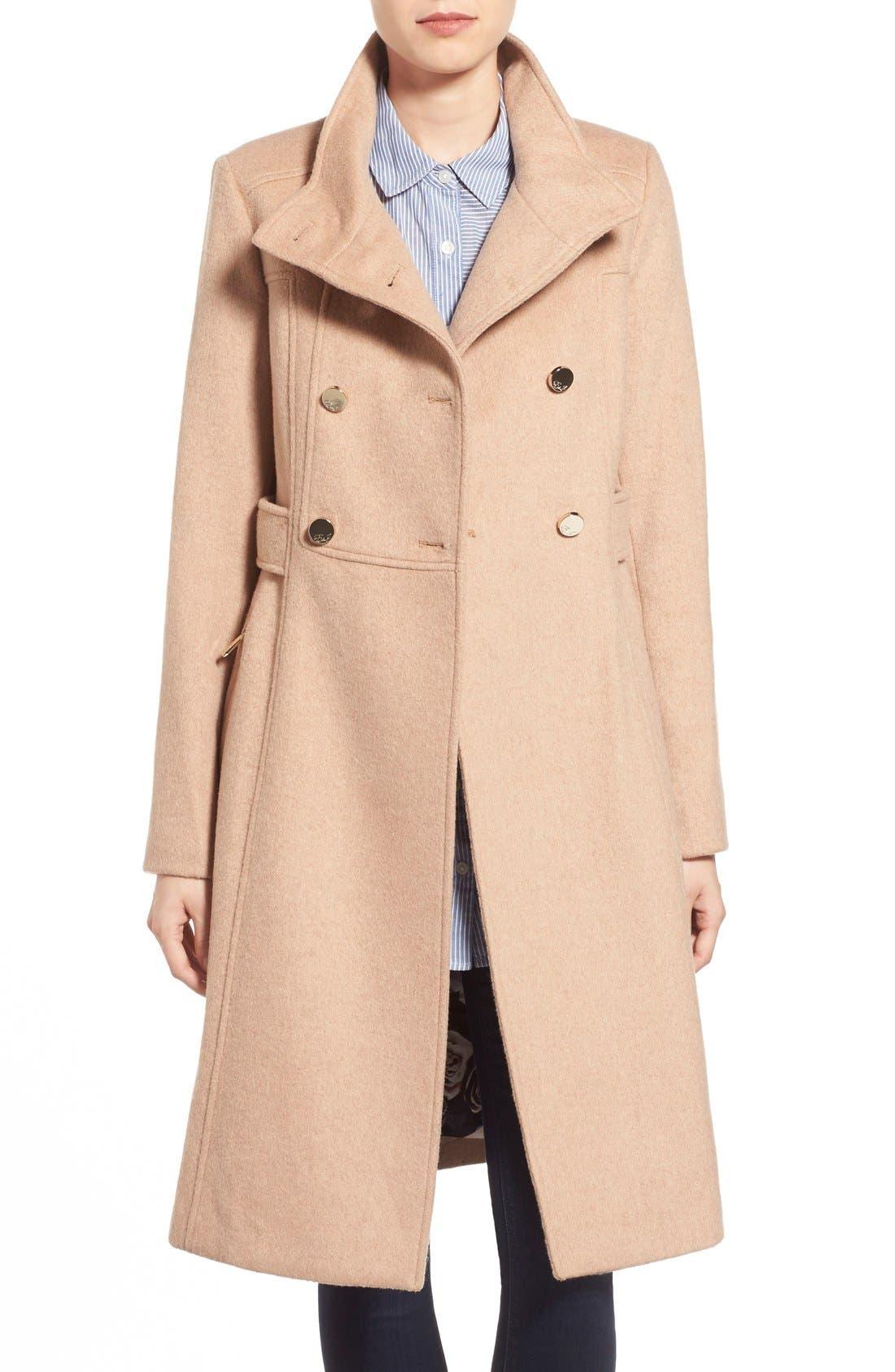 Wool Blend Long Military Coat,                             Main thumbnail 3, color,