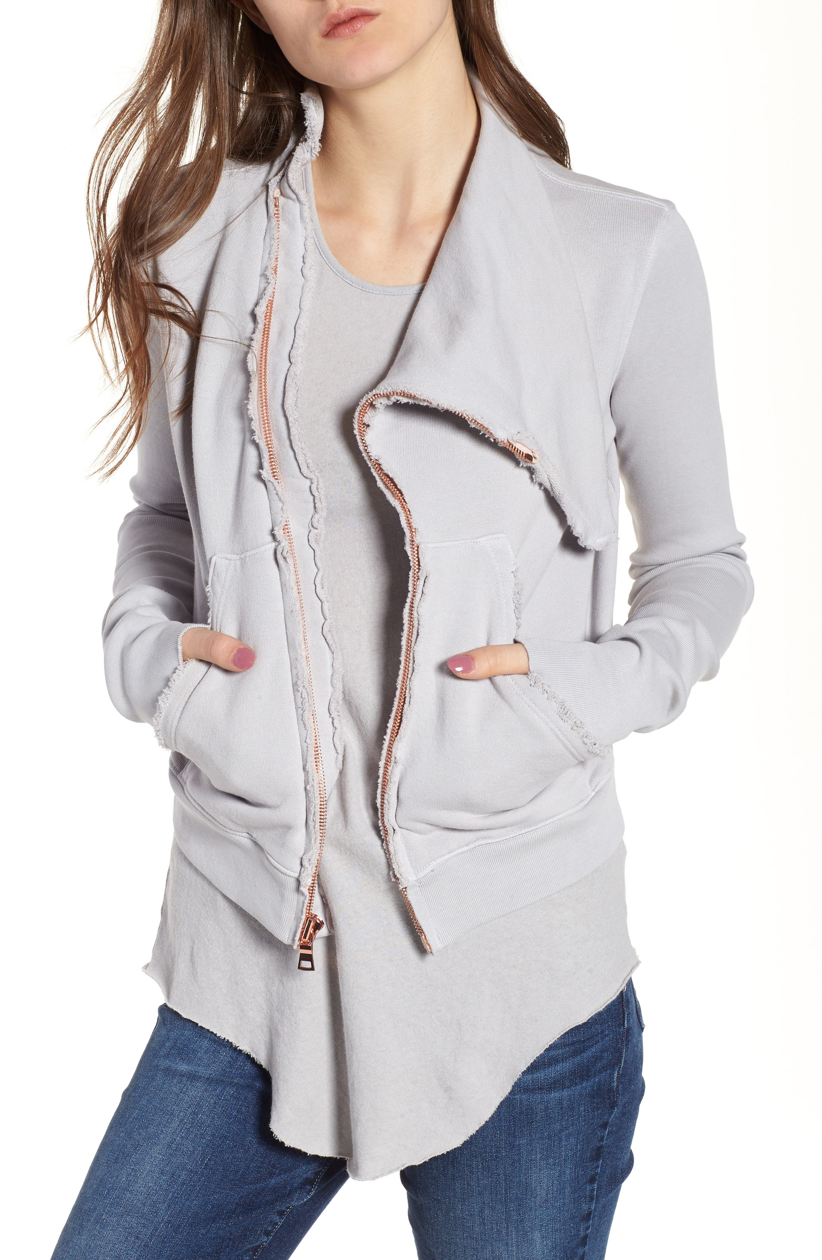Frank & Eileen Asymmetrical Zip Fleece Jacket in Blackout