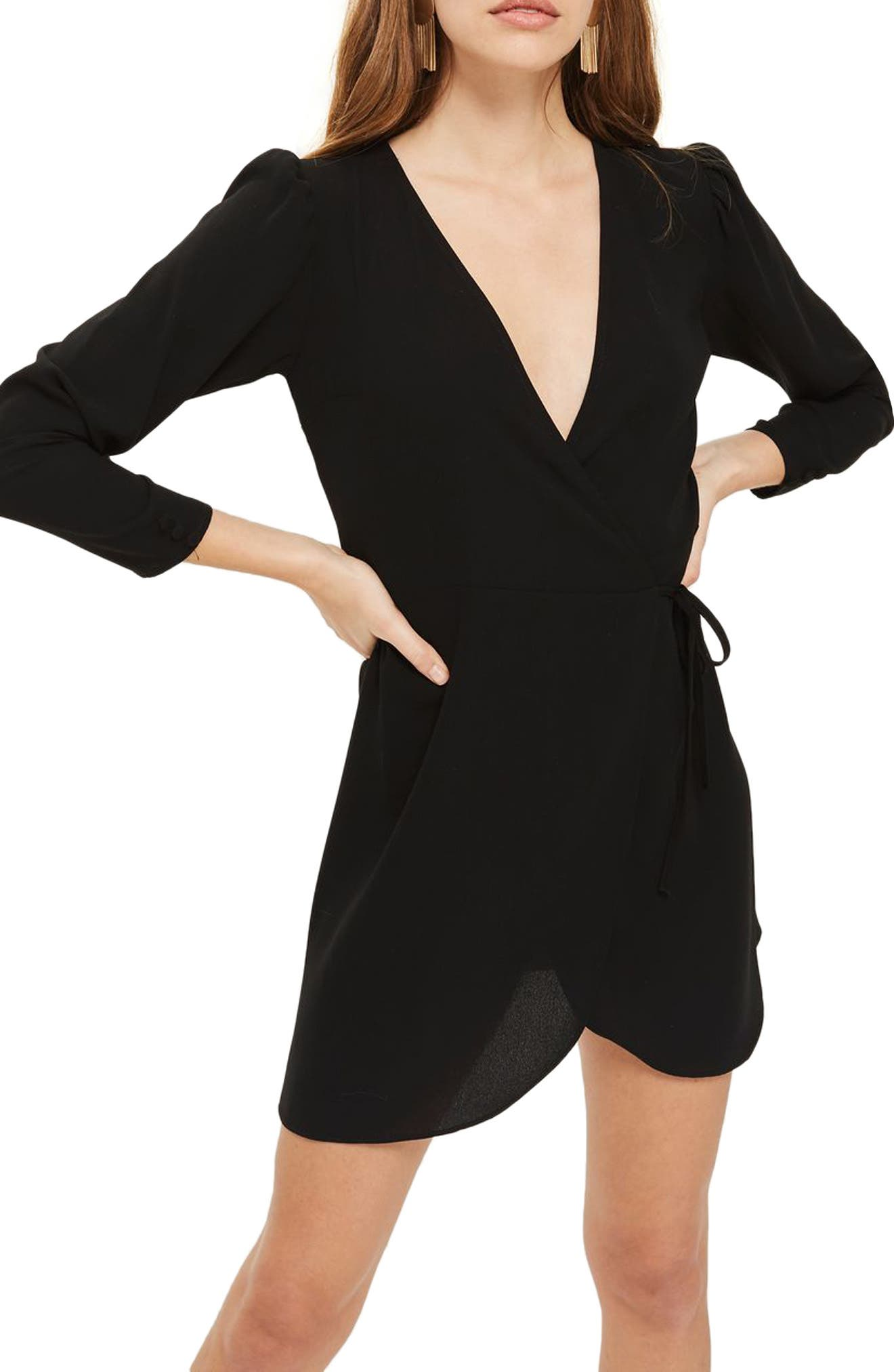 Crepe Wrap Minidress,                             Alternate thumbnail 5, color,                             001