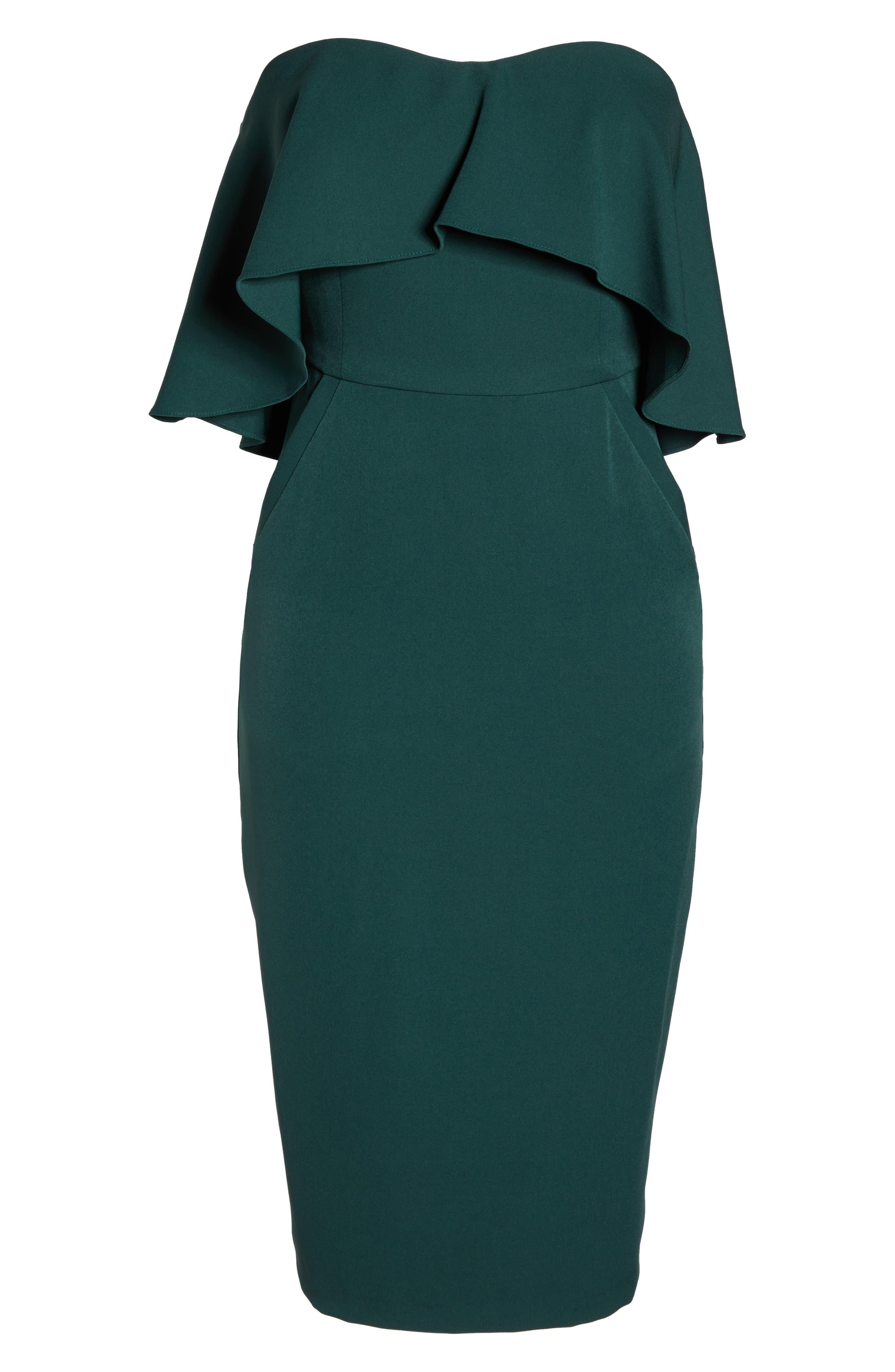 Ruffle Stretch Crepe Sheath Dress,                             Alternate thumbnail 32, color,