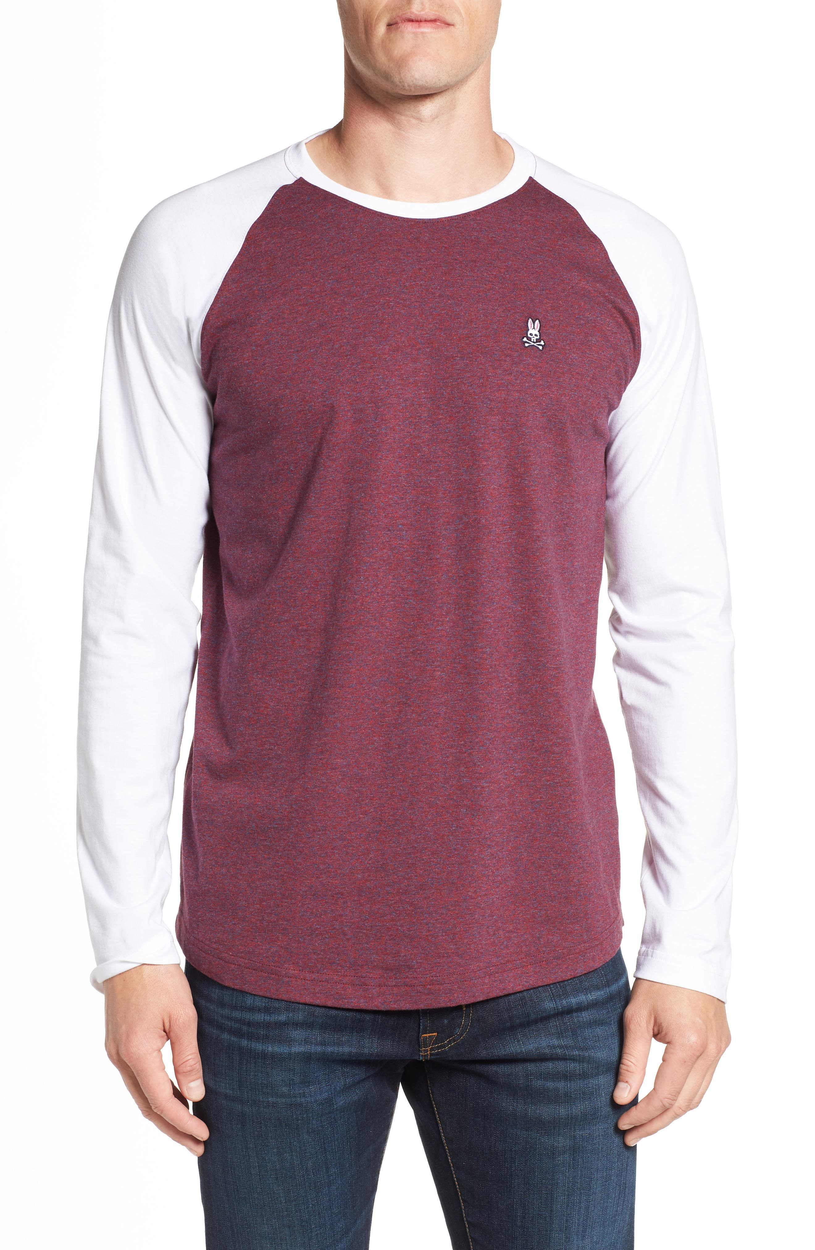 Cobb Raglan T-Shirt,                         Main,                         color, BURGUNDY SALT PEPPER