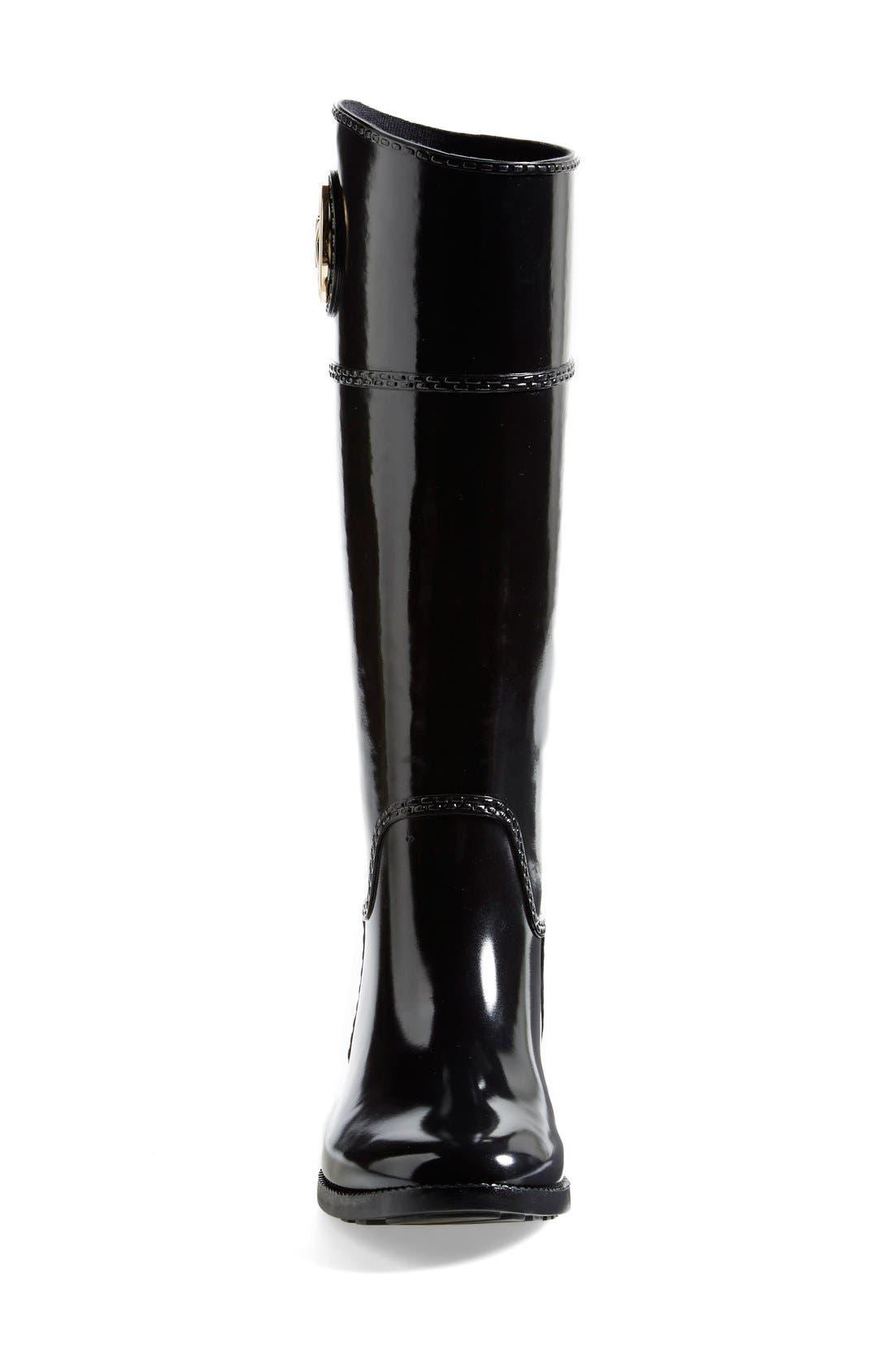MICHAEL MICHAEL KORS,                             'Stockard' Rain Boot,                             Alternate thumbnail 4, color,                             001