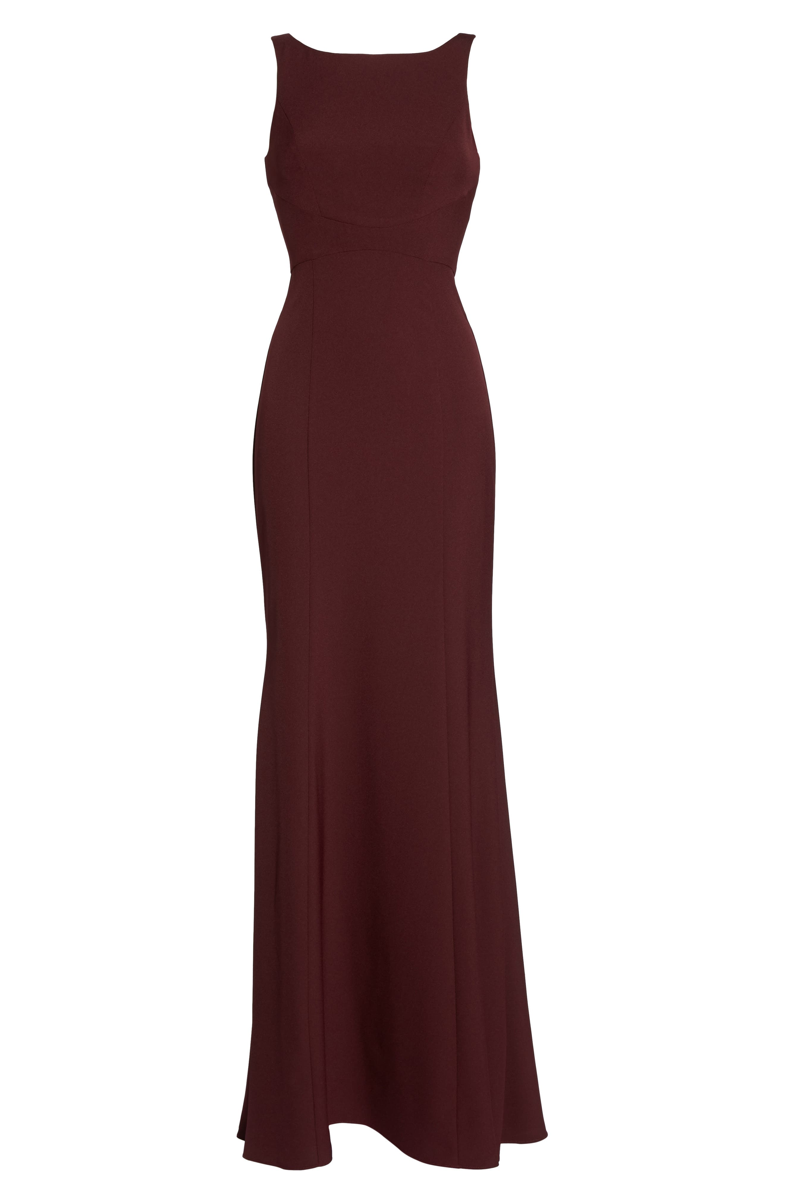 Joelle Low Back Crepe Gown,                             Alternate thumbnail 6, color,                             RUBY