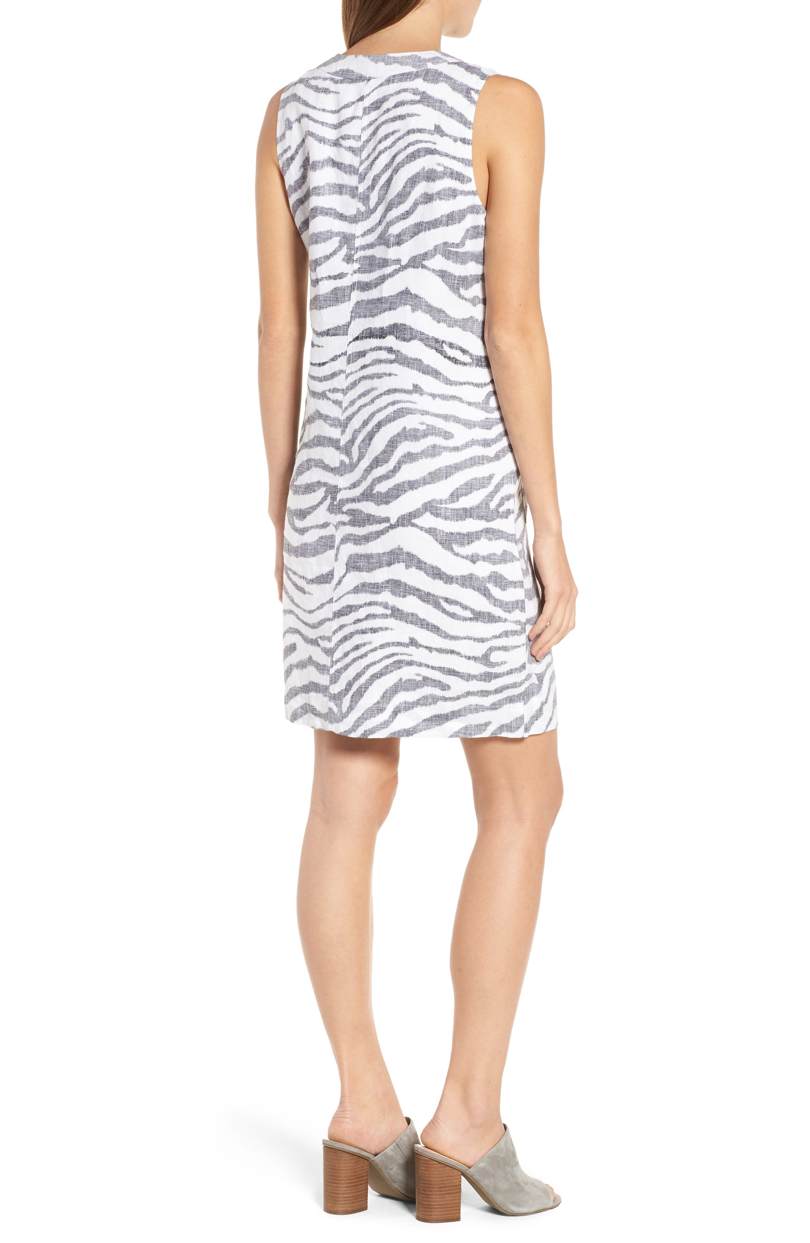 Zebra Taunt Shift Dress,                             Alternate thumbnail 2, color,                             001