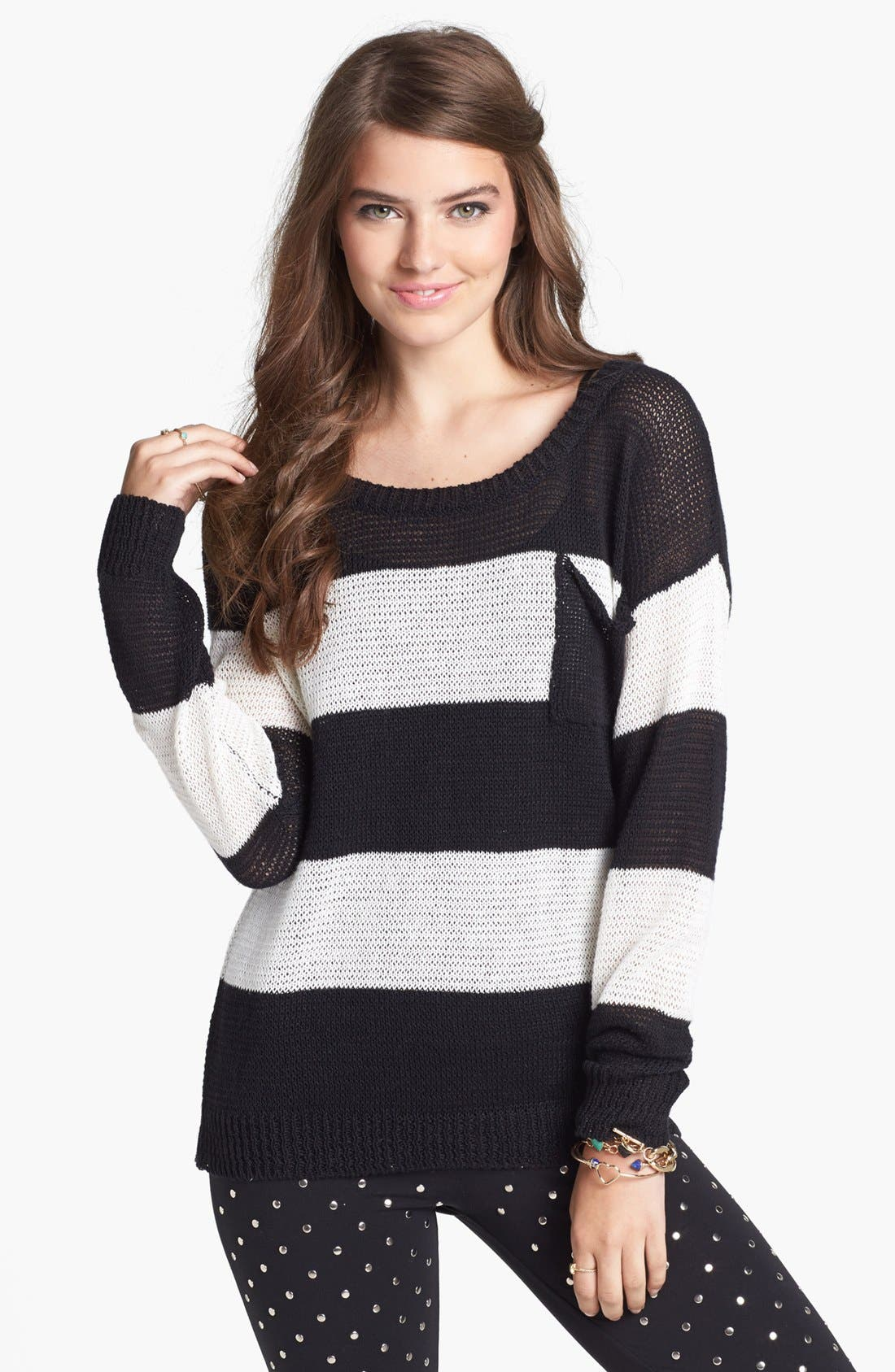 Wide Neck Stripe Sweater,                             Main thumbnail 1, color,                             002