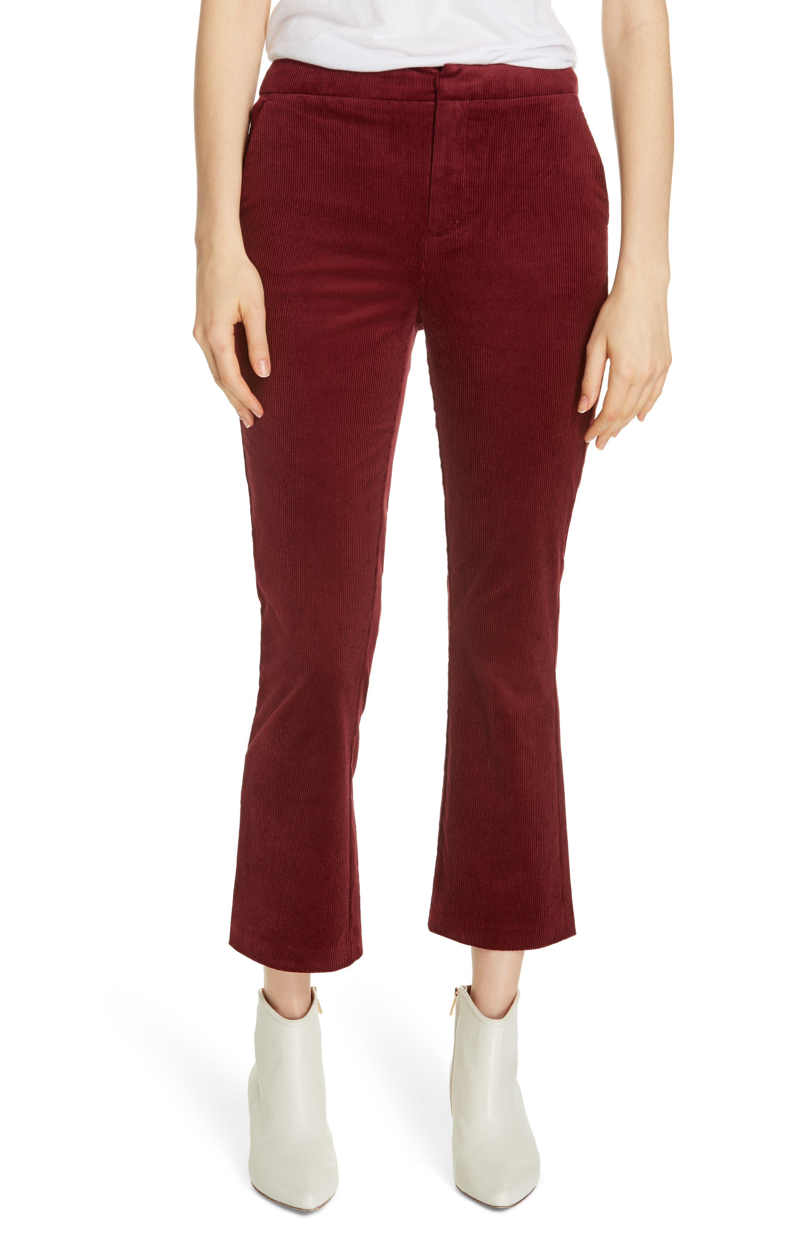 Marcena Velvet Crop Flared Pants,                             Main thumbnail 1, color,                             BLACKBERRY