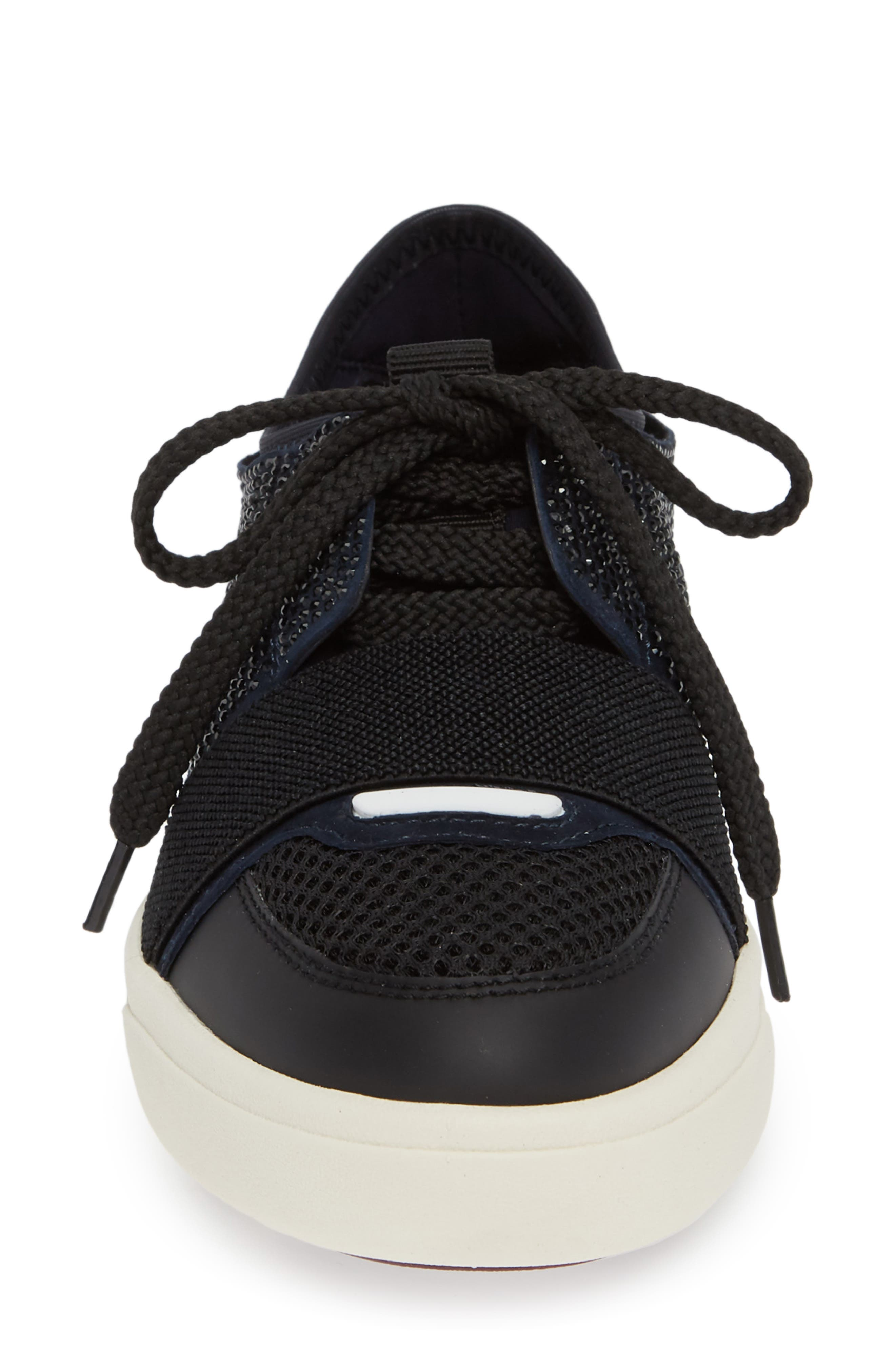 Onella Lace-Up Sneaker,                             Alternate thumbnail 4, color,                             BLACK/ NAVY/ GREY MULTI