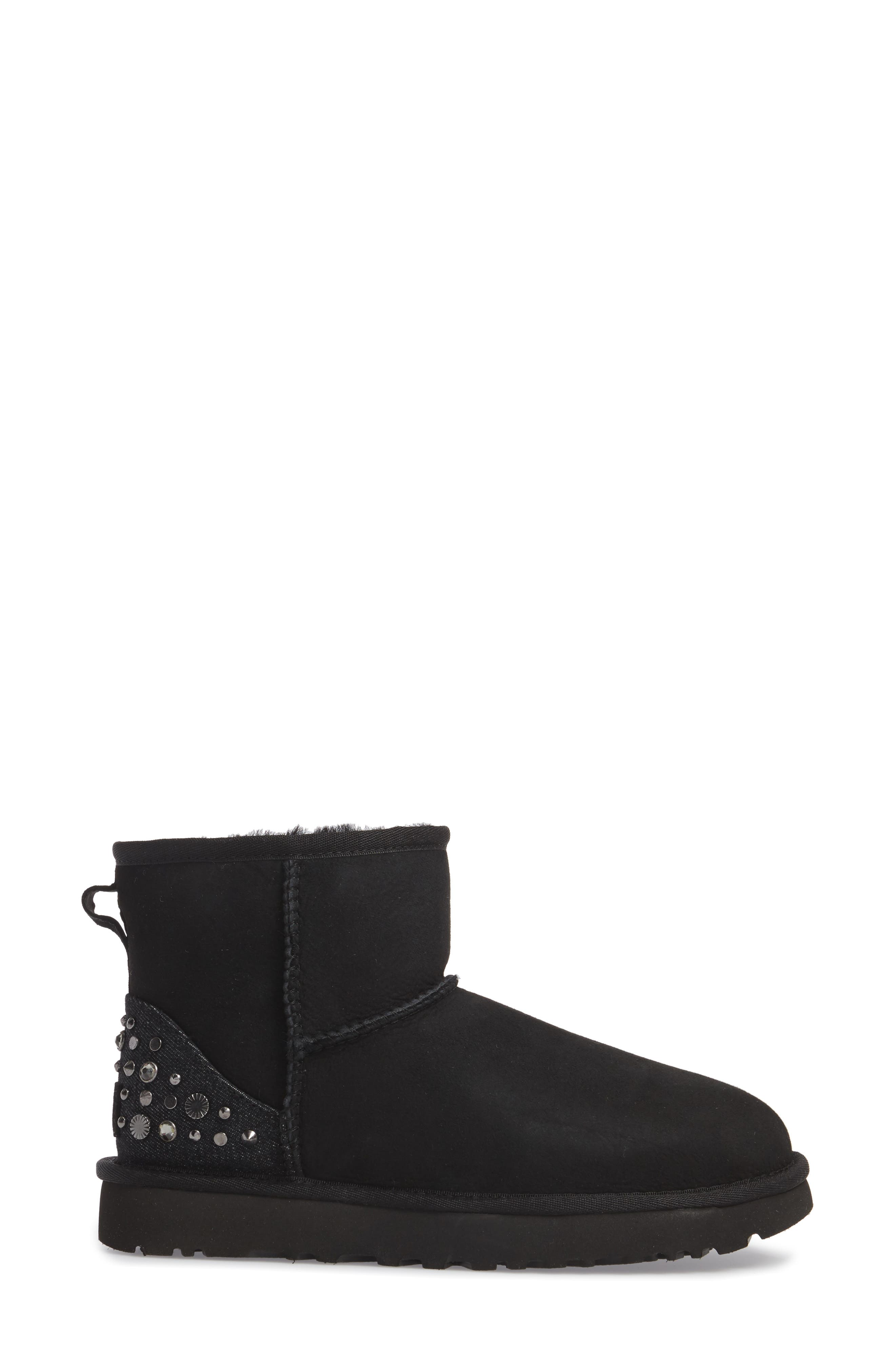 Studded Mini Genuine Shearling Lined Boot,                             Alternate thumbnail 3, color,                             001