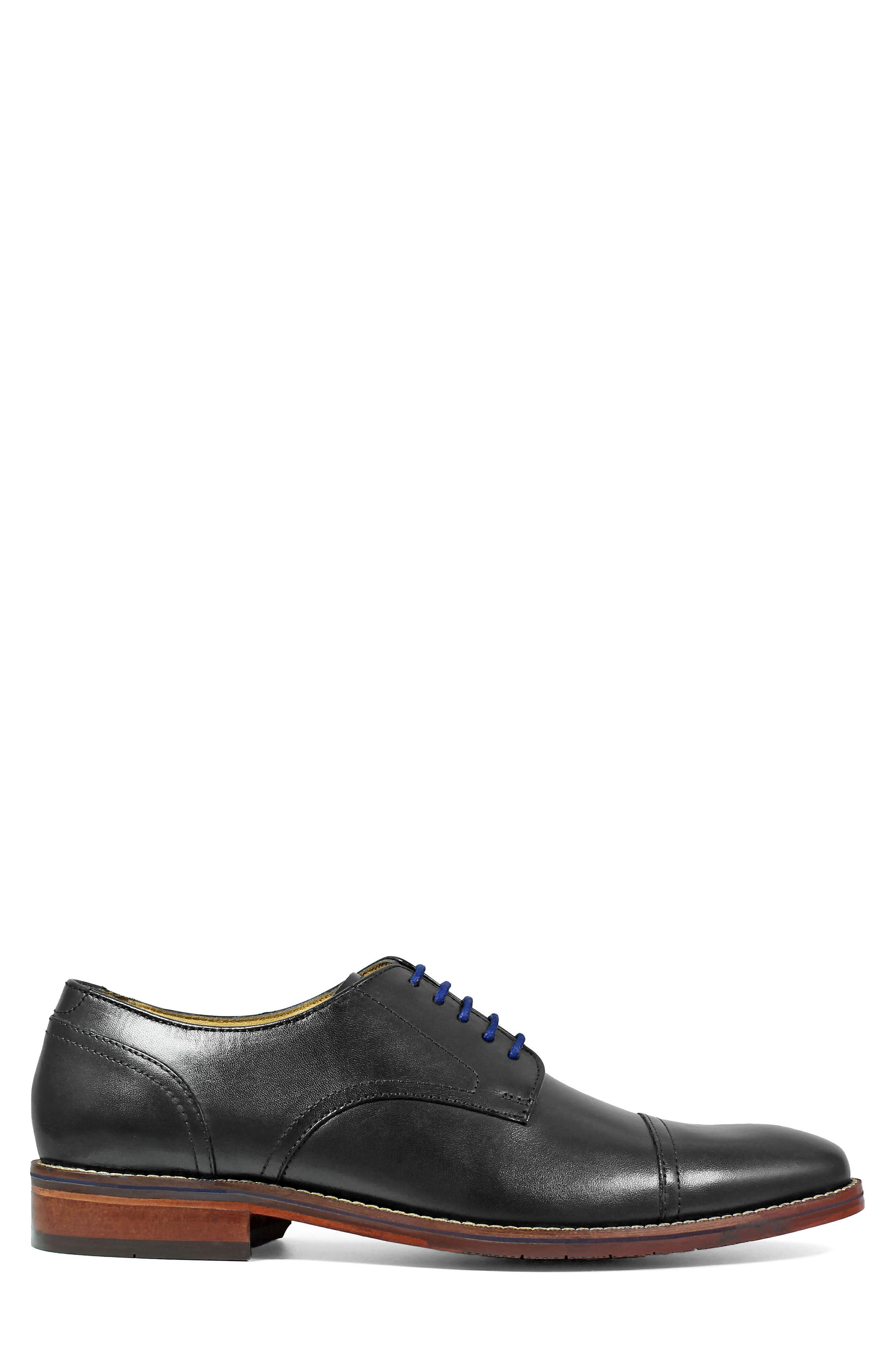 Salerno Cap Toe Derby,                             Alternate thumbnail 3, color,                             BLACK LEATHER