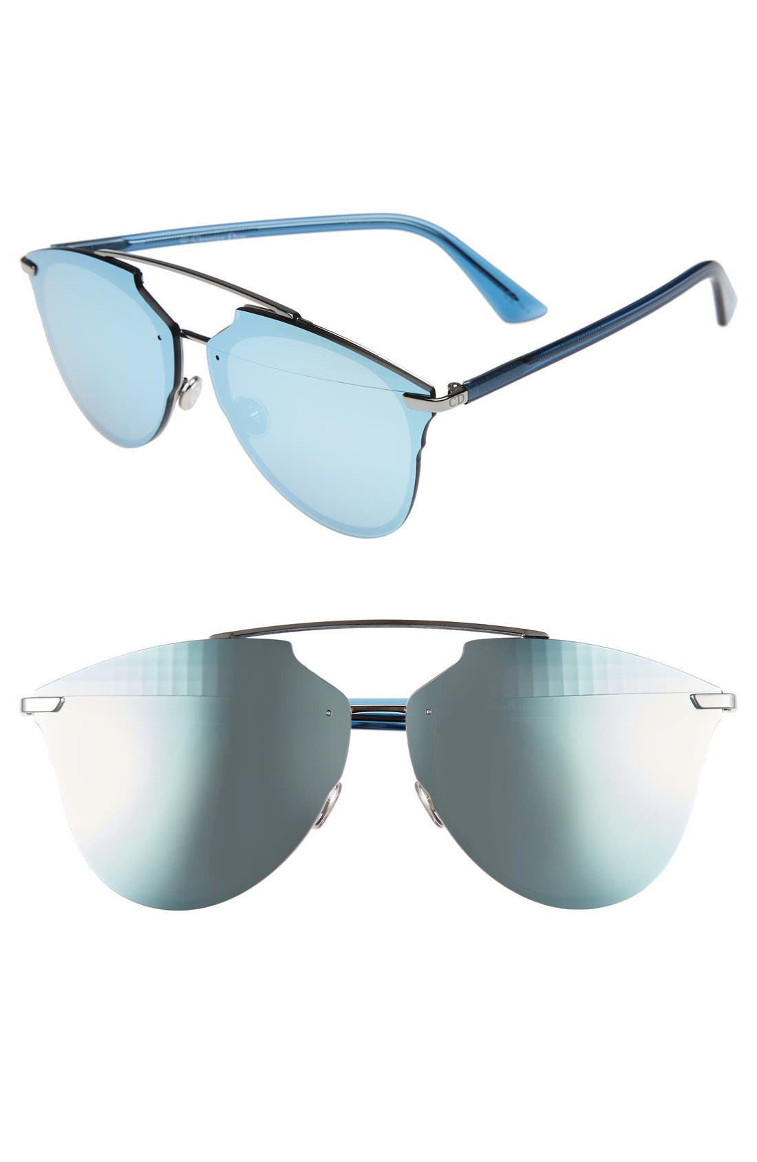 Reflected Prism 63mm Oversize Mirrored Brow Bar Sunglasses,                             Main thumbnail 4, color,