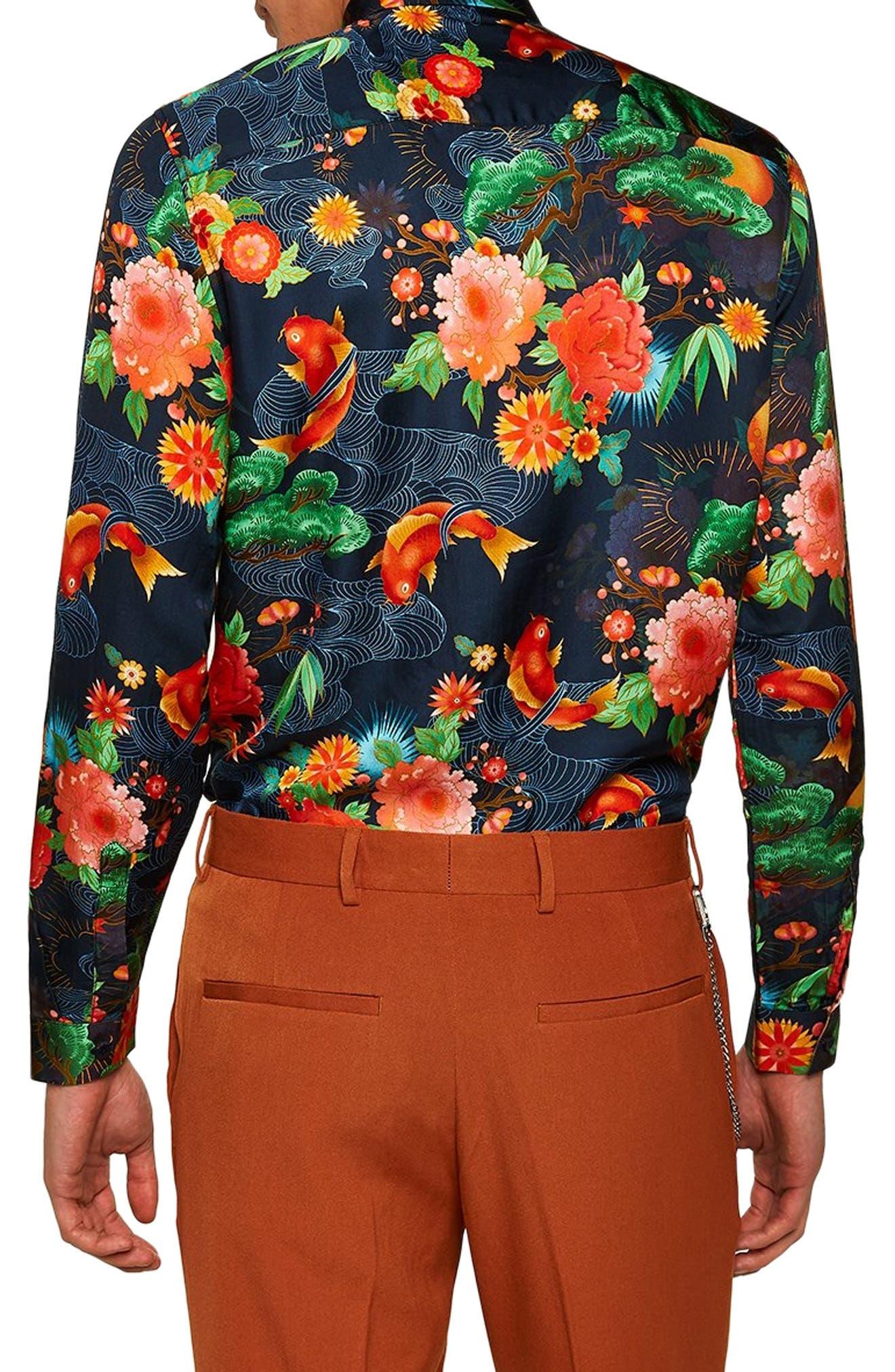 Classic Fit Floral Shirt,                             Alternate thumbnail 3, color,                             BLUE