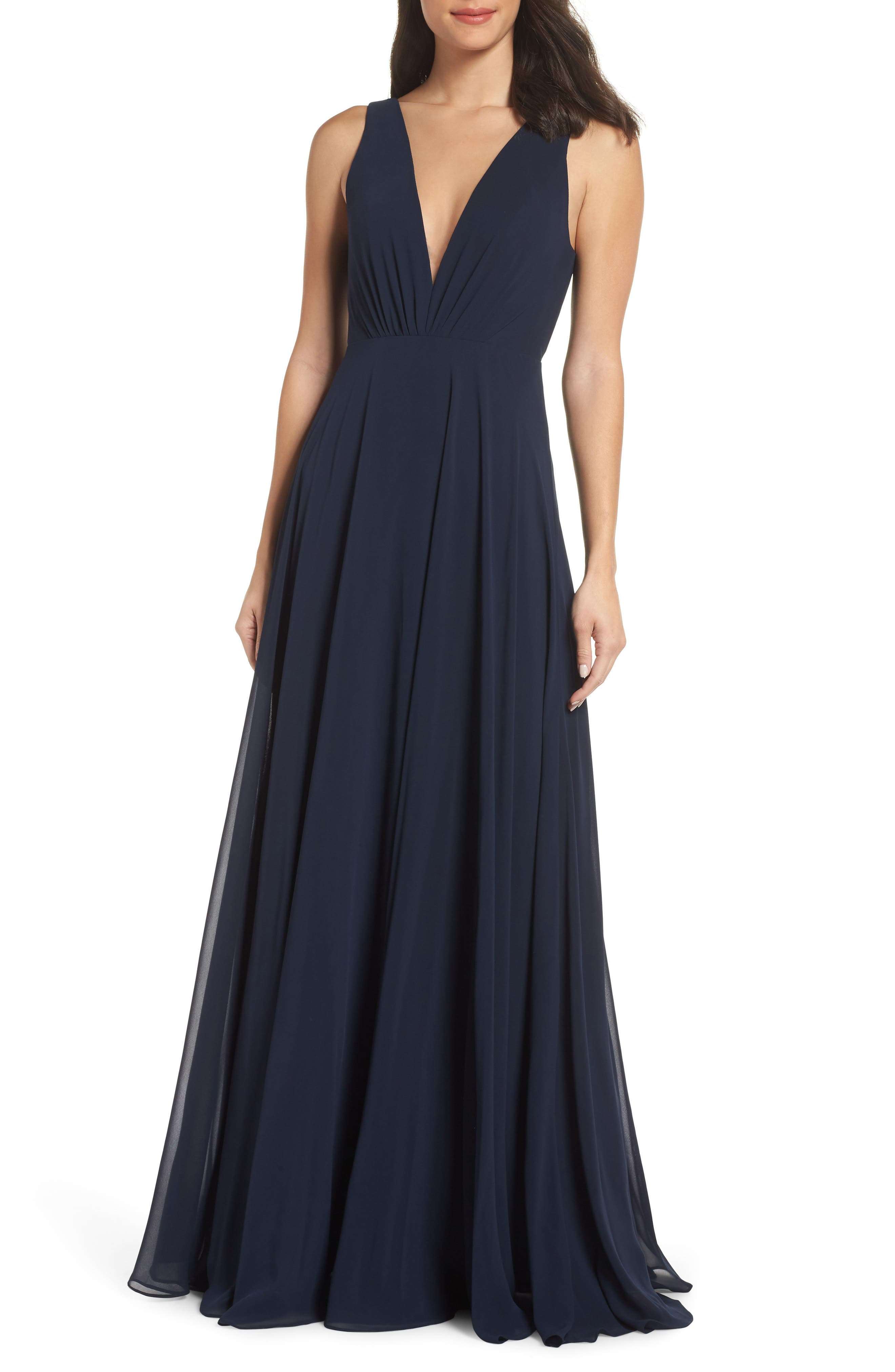 Jenny Yoo Ryan Illusion Neck Chiffon Gown, Blue