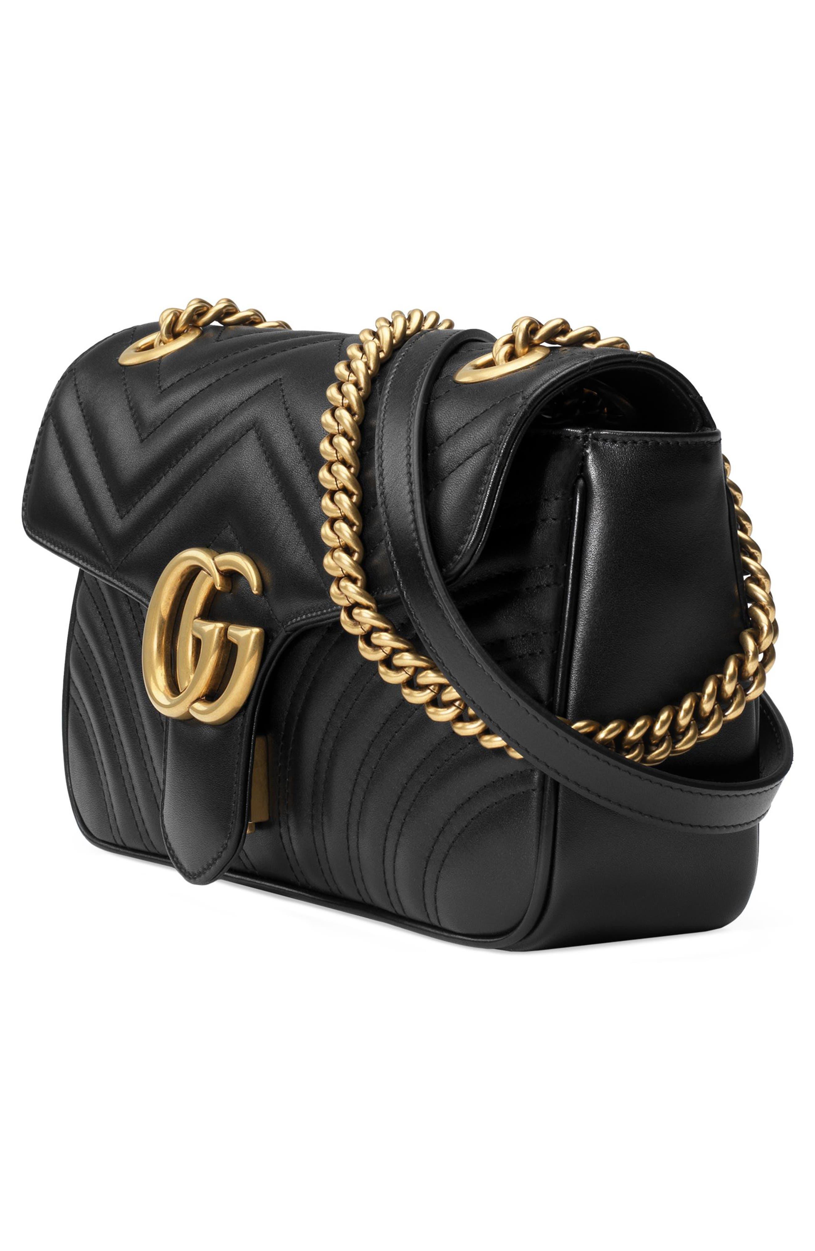 Small GG Marmont 2.0 Matelassé Leather Shoulder Bag,                             Alternate thumbnail 4, color,                             NERO/ NERO