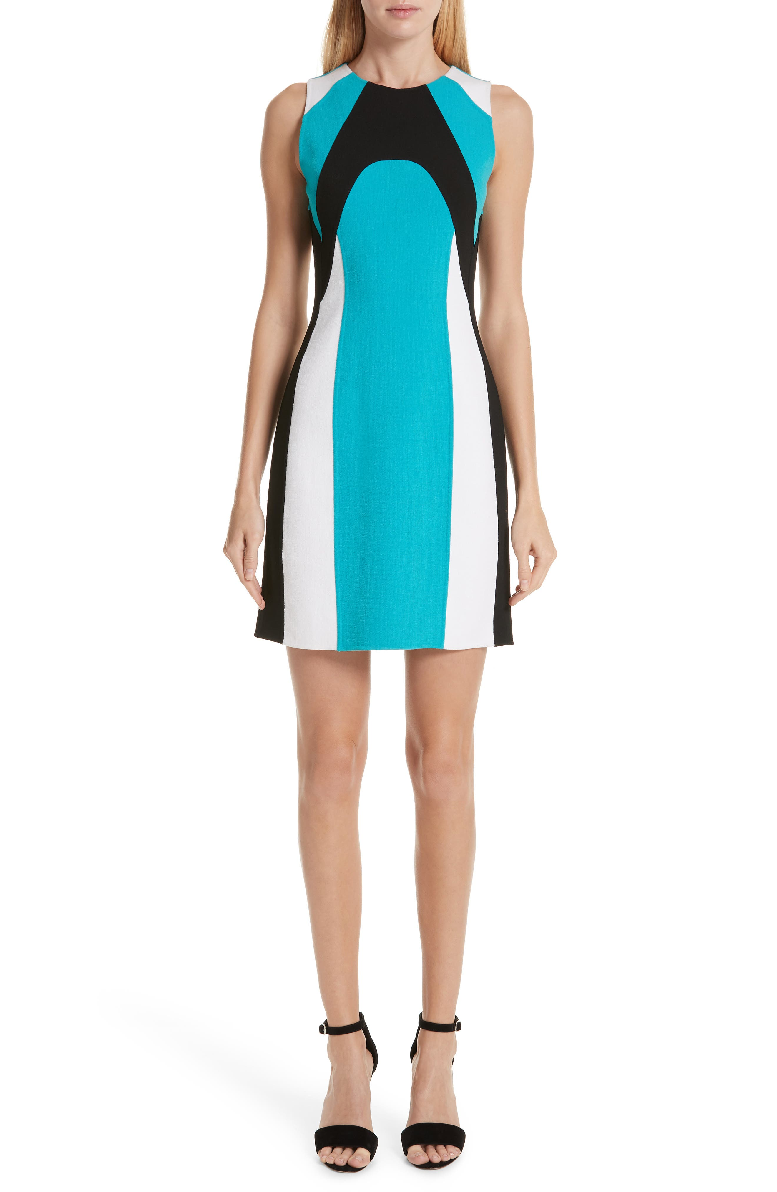 Scuba Colorblock Stretch Wool Boucle Sheath Dress in Turquoise/ Black/ White