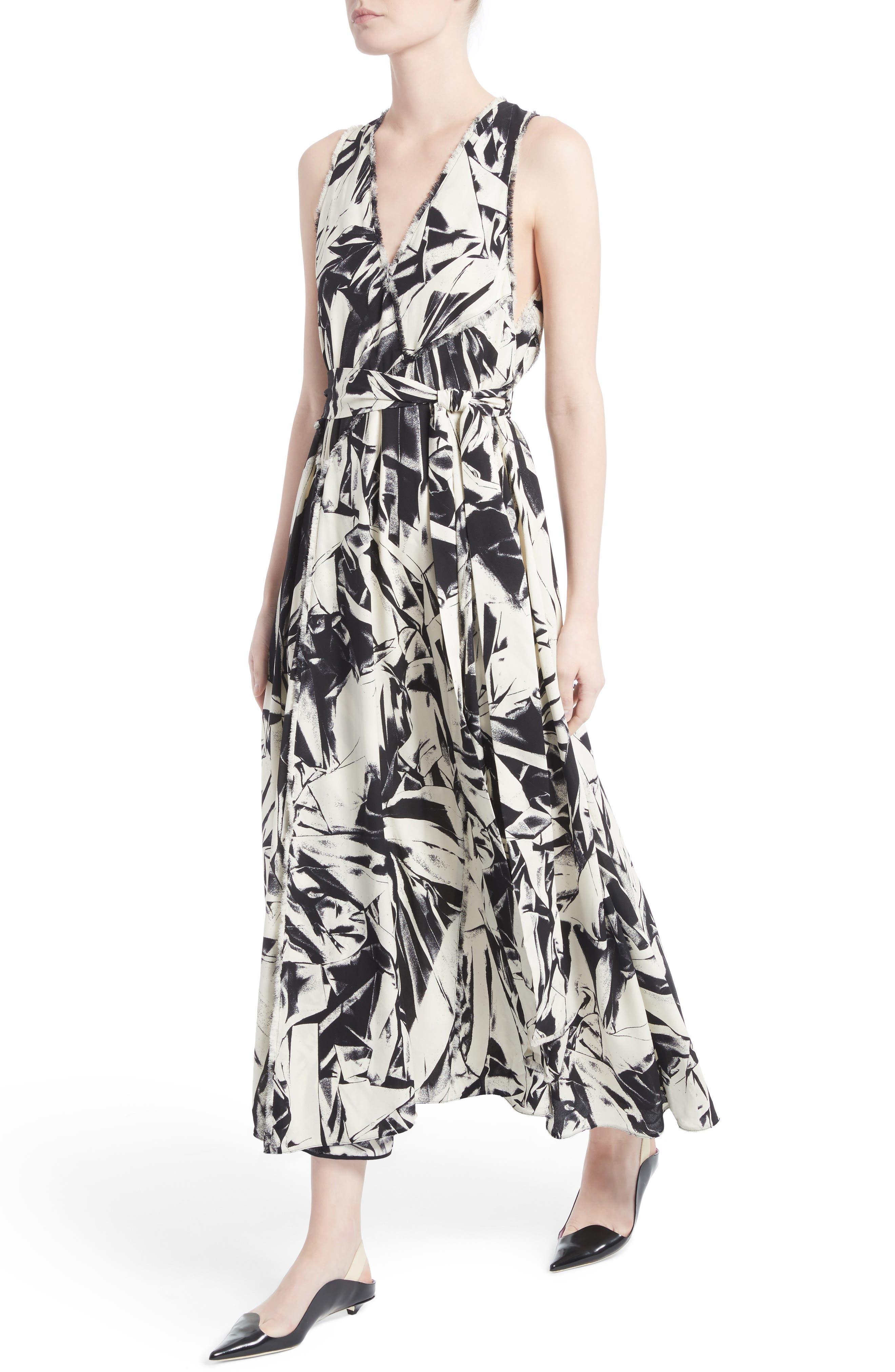 Print Silk Georgette Maxi Dress,                             Alternate thumbnail 4, color,                             001