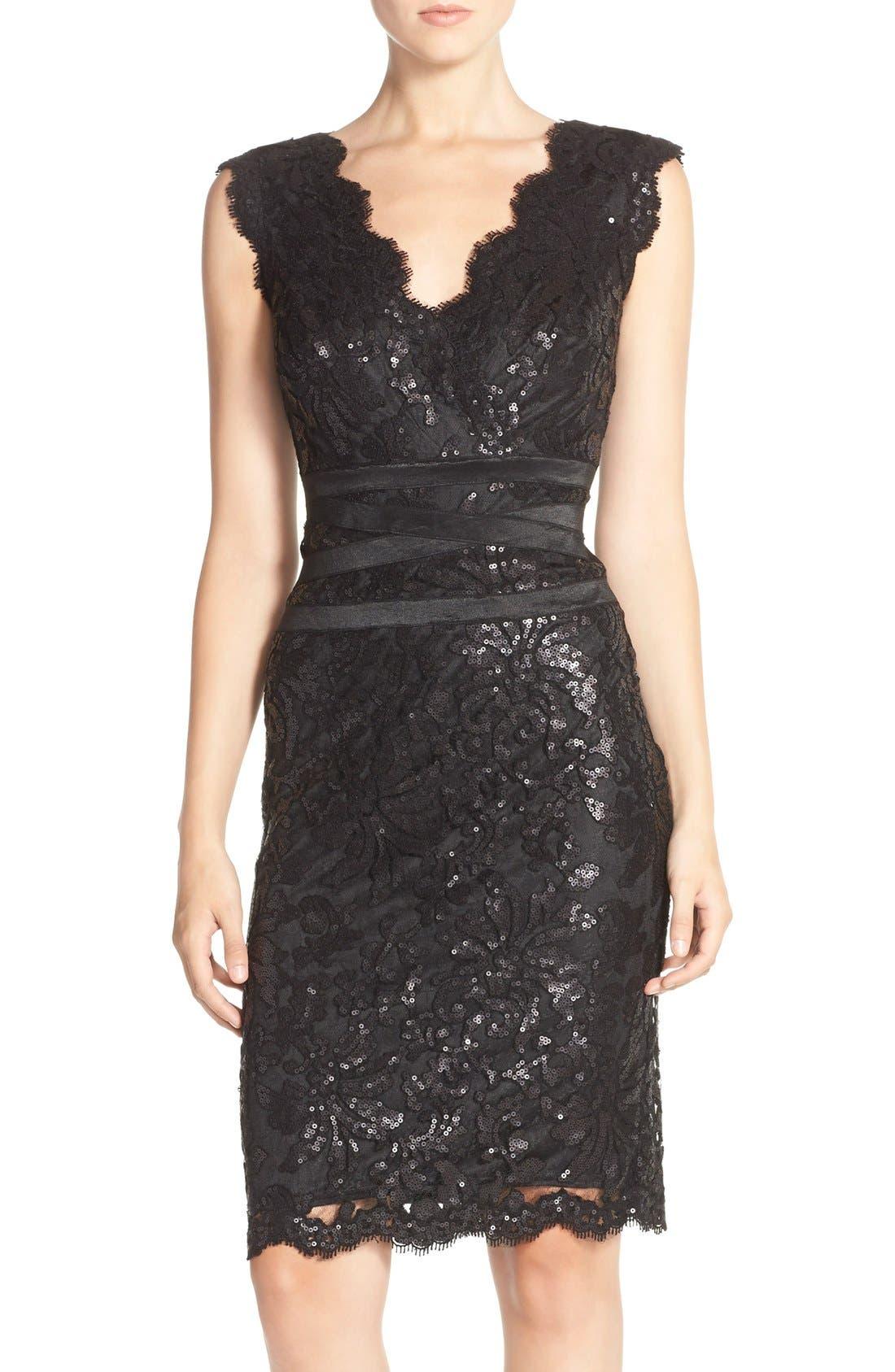 Sequin Lace Sheath Dress,                             Main thumbnail 1, color,                             001